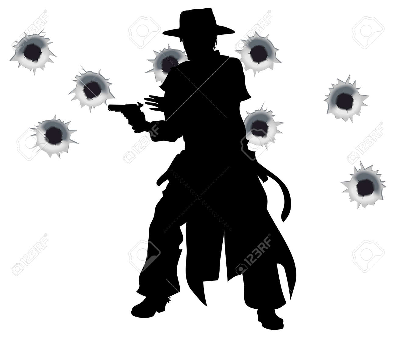 A Wild West Gunslinger Drawing And Firing His Gun In A Shootout