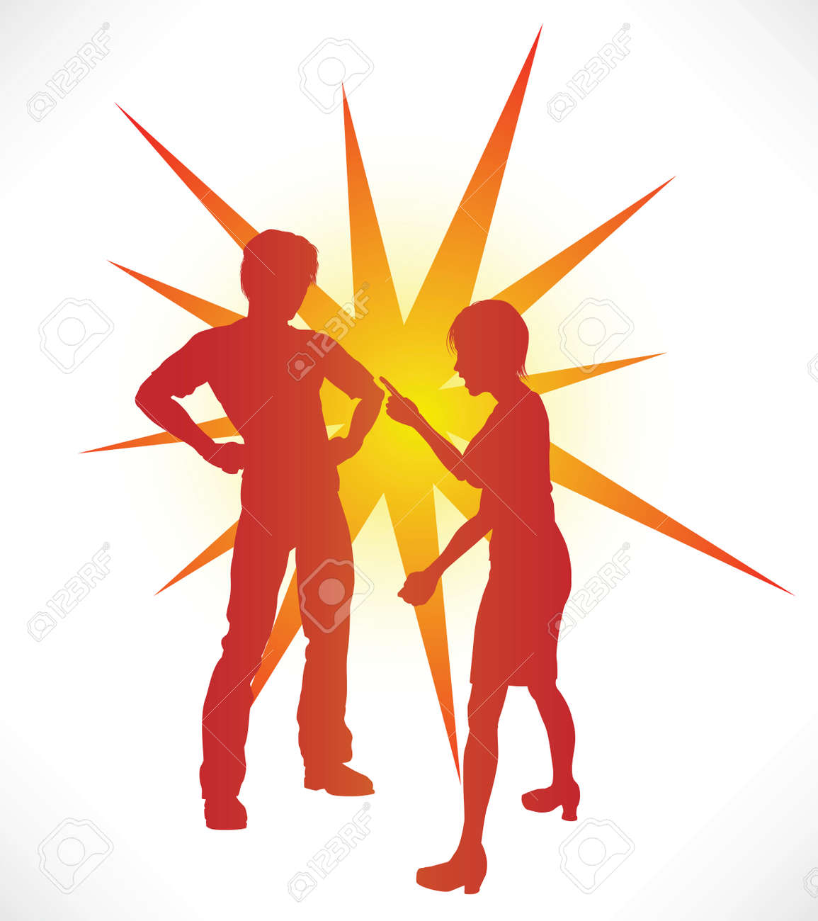 A couple in silhouette having a heated argument. Stock Vector - 9088565