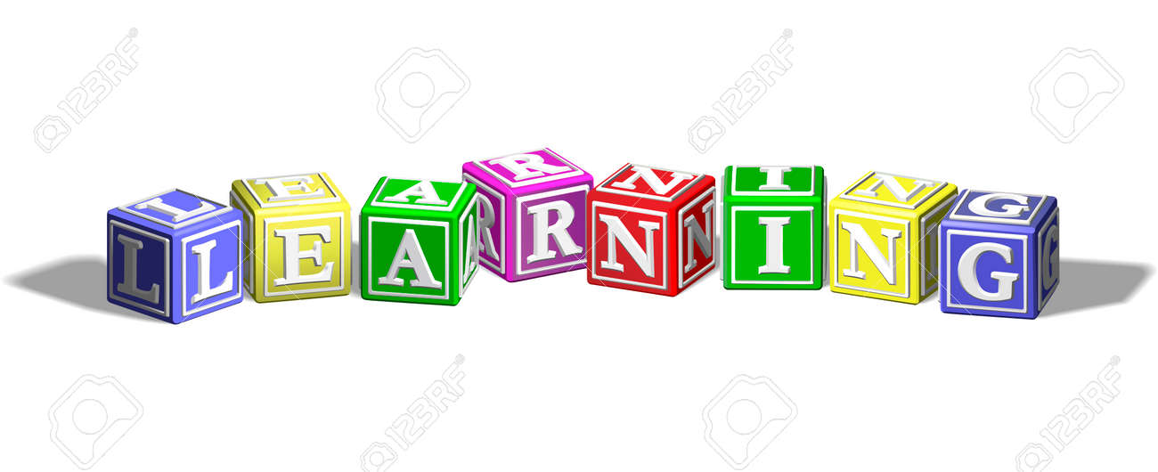 alphabet letter blocks forming the word learning royalty free