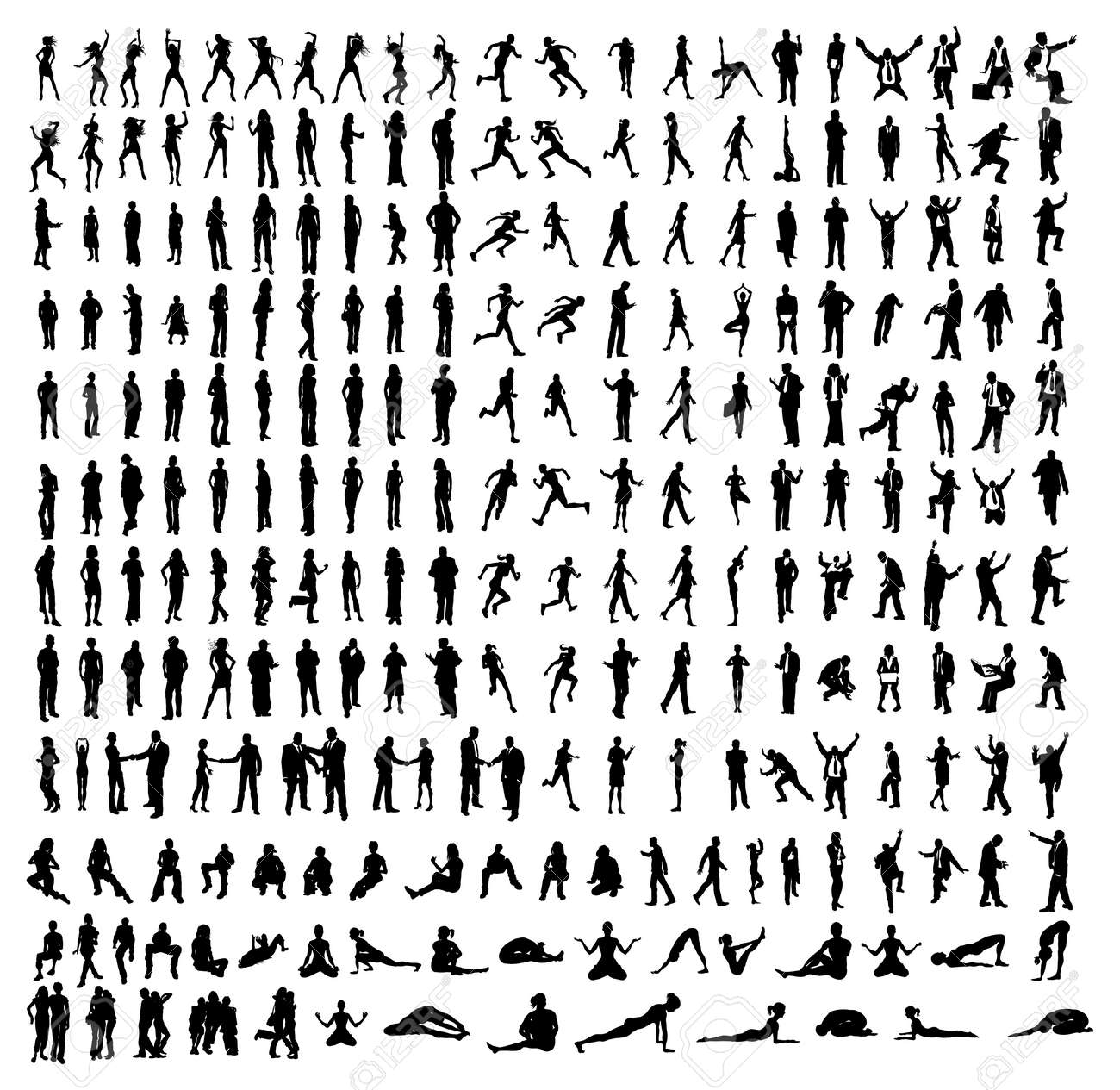 Many very detailed silhouettes including business, dancers, yoga etc. Stock Vector - 9088579