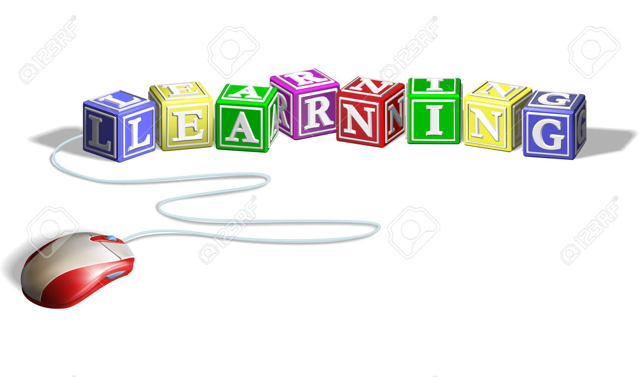 Mouse connected to alphabet letter blocks forming the word learning. Concept for e-learning. Stock Vector - 9186574