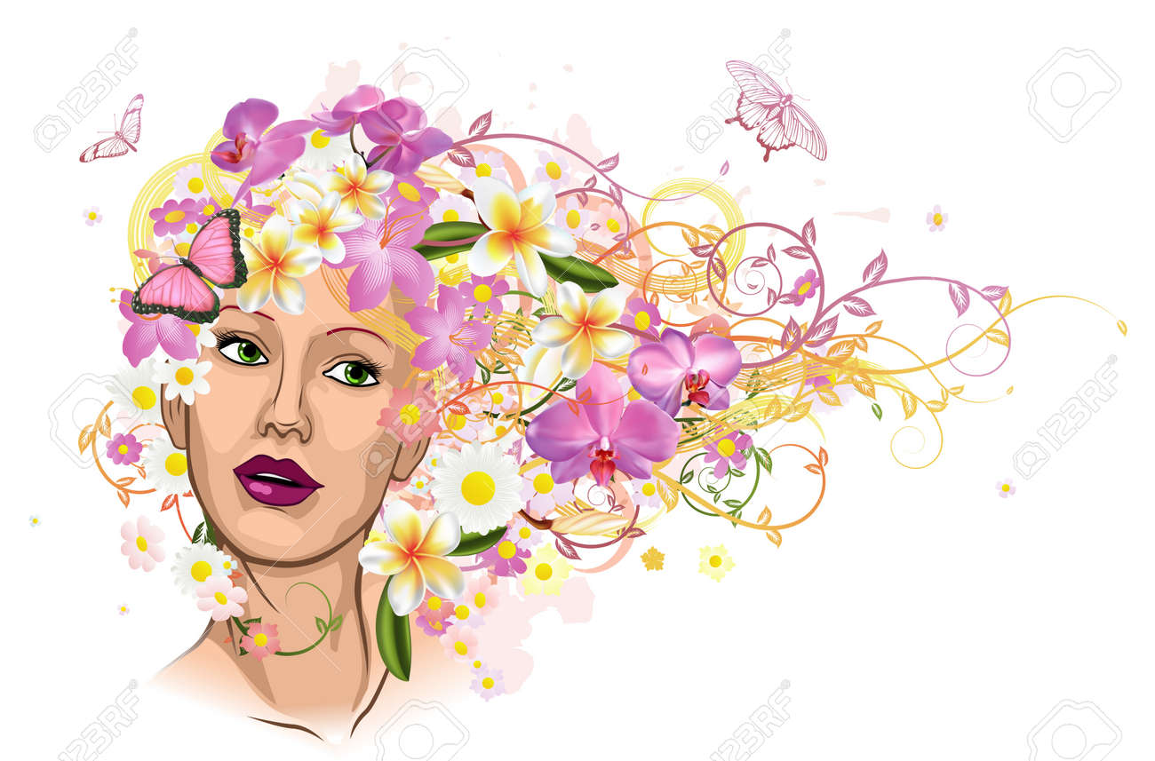 Beautiful woman with hair made of flowers with butterflies royalty beautiful woman with hair made of flowers with butterflies stock vector 9326223 izmirmasajfo Gallery