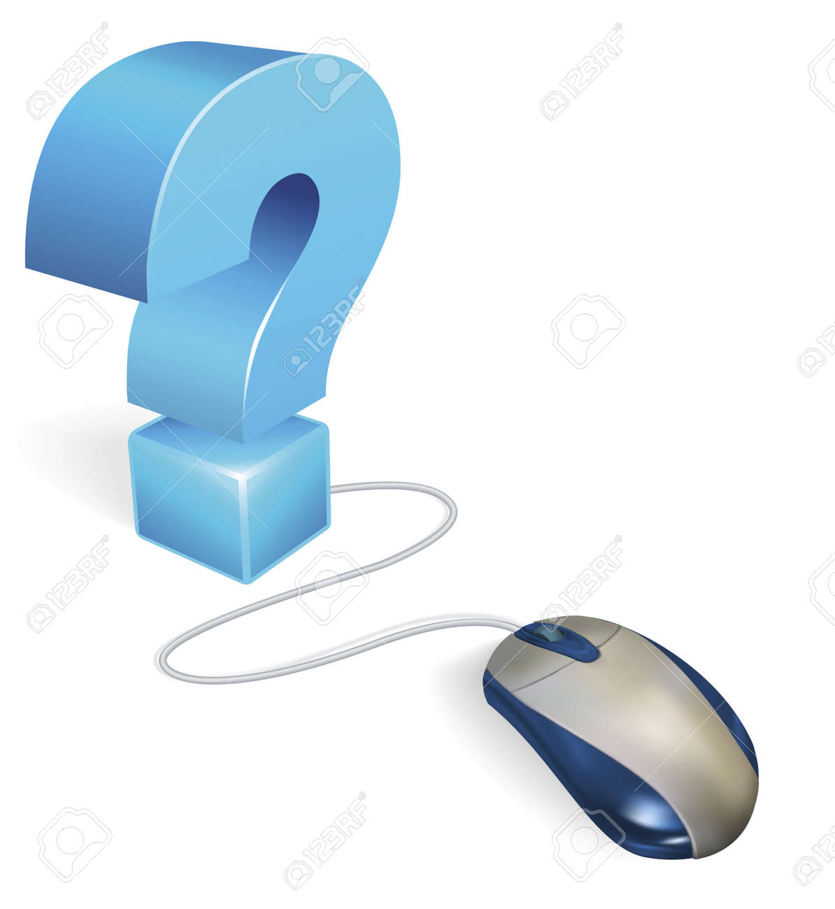 476b2cdcfb8 A computer mouse connected to a question mark. Internet concept for a faq  section or