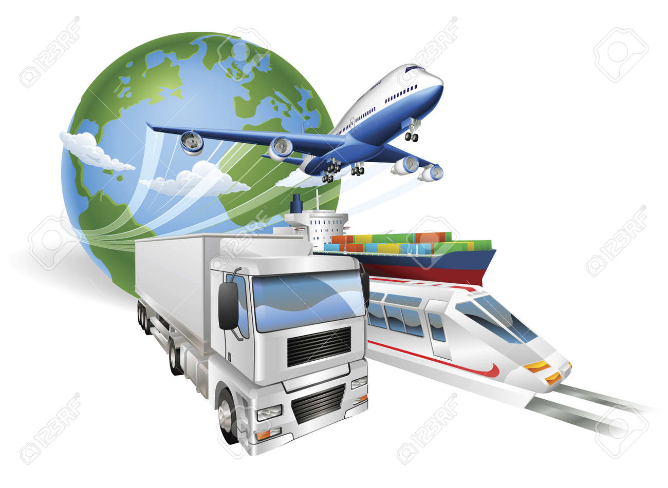 Global logistics concept illustration.. Globe, airplane (aeroplane), truck, train and cargo container ship. - 9584534