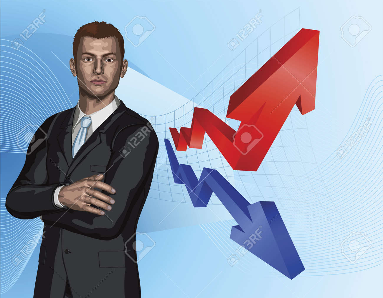 Confident young businessman in front of abstract arrow graph background concept Stock Vector - 9584533