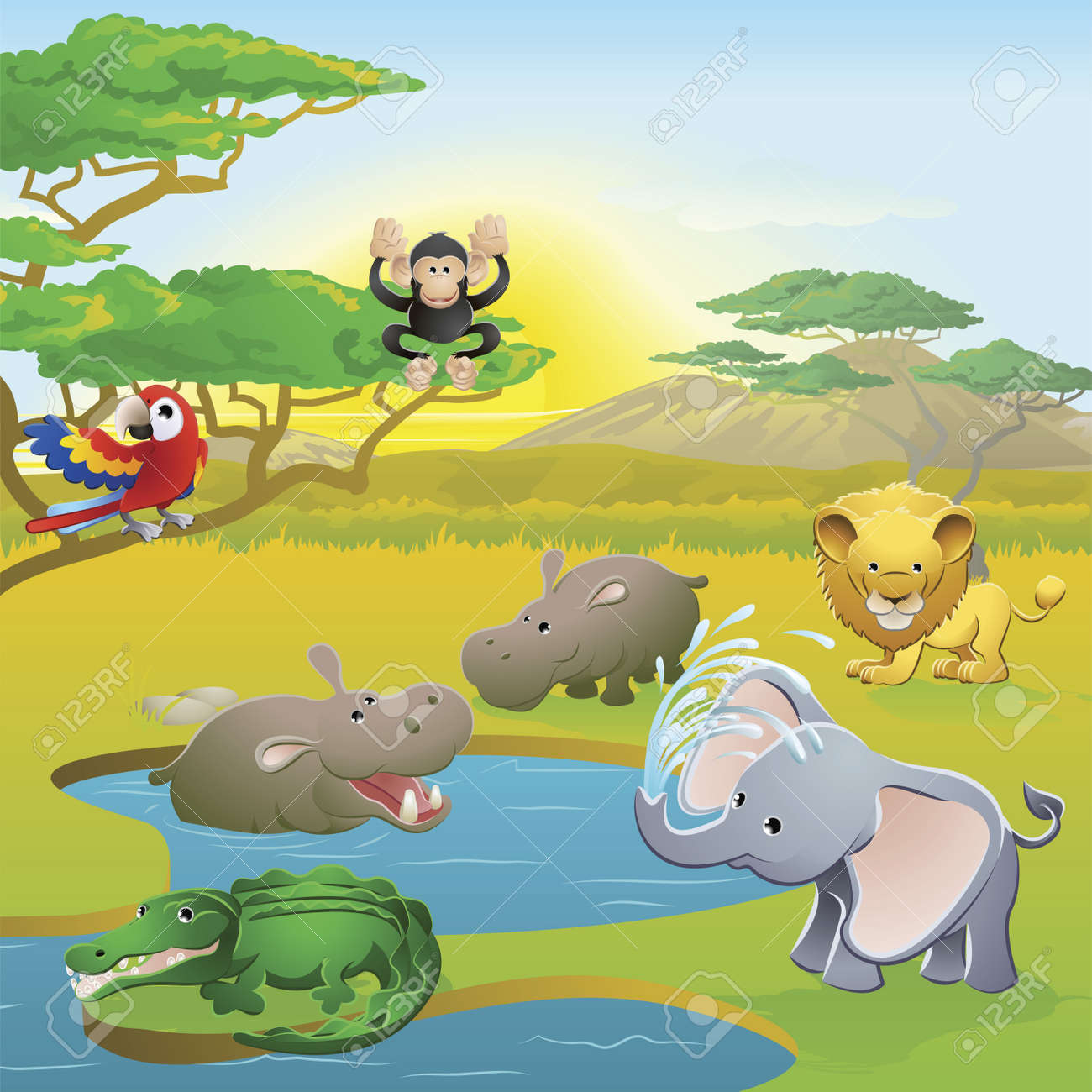 Cute African safari animal cartoon characters scene. Series of three illustrations that can be used separately or side by side to form panoramic landscape. Stock Vector - 9637574