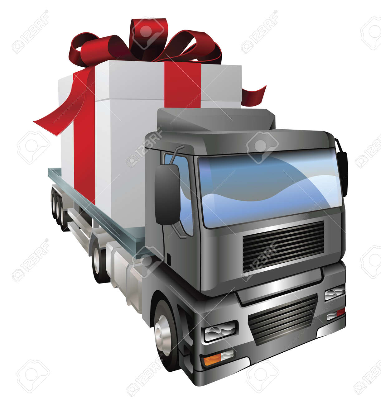 An illustration of a lorry truck carrying a giant gift Stock Vector - 9718260