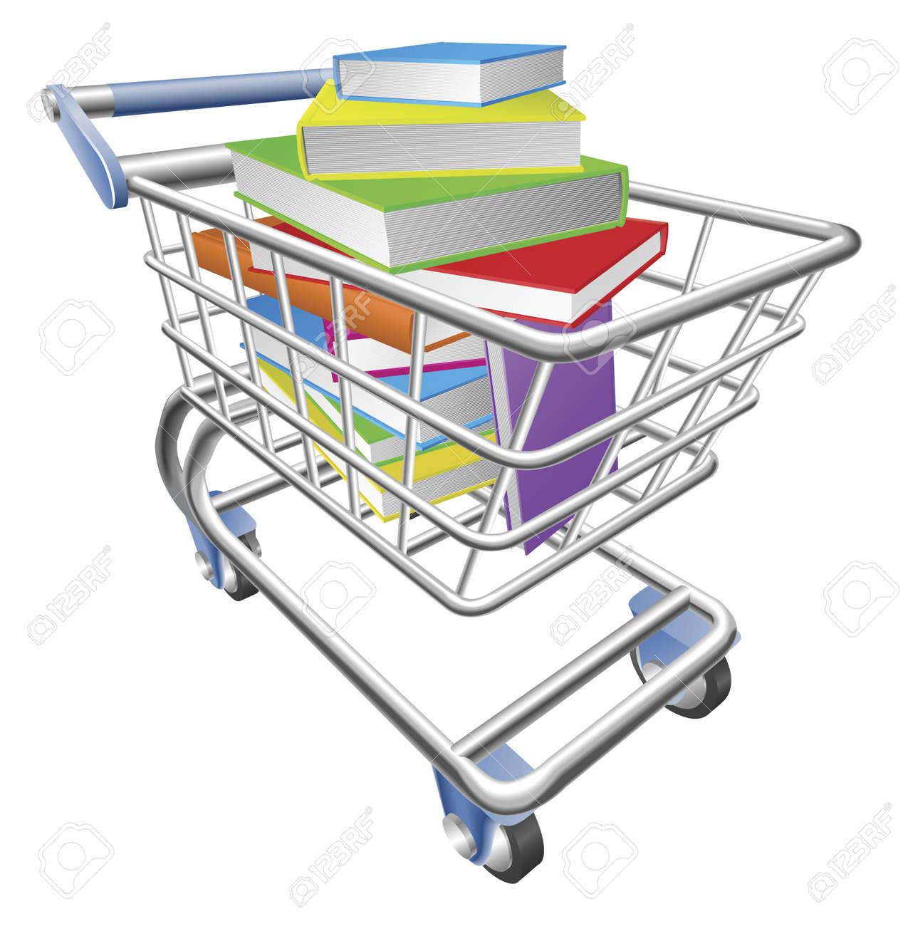 An illustration of a shopping cart trolley full of books - 9719634