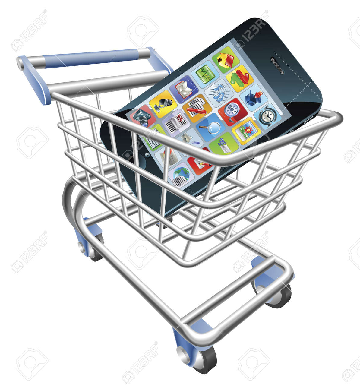An illustration of a shopping cart trolley with smart phone mobile phone Stock Vector - 9722316