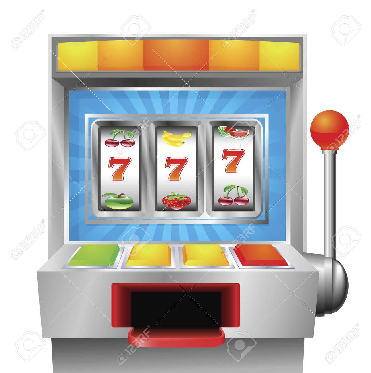 A slot or fruit machine illustration on white background Stock Vector - 9722312