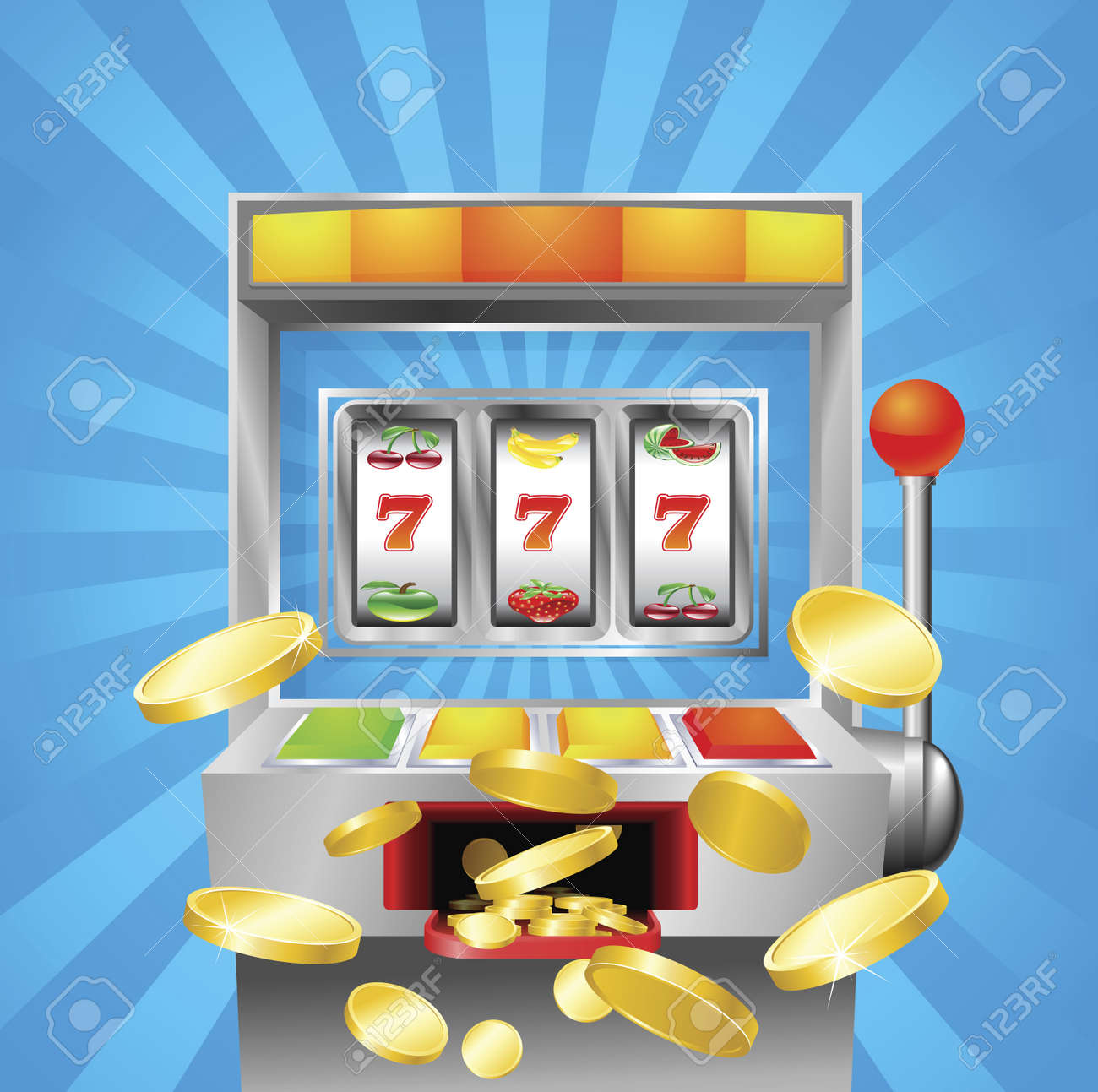 A slot fruit machine winning on 7s. Gold coins fly out at the viewer. Stock Vector - 9851538