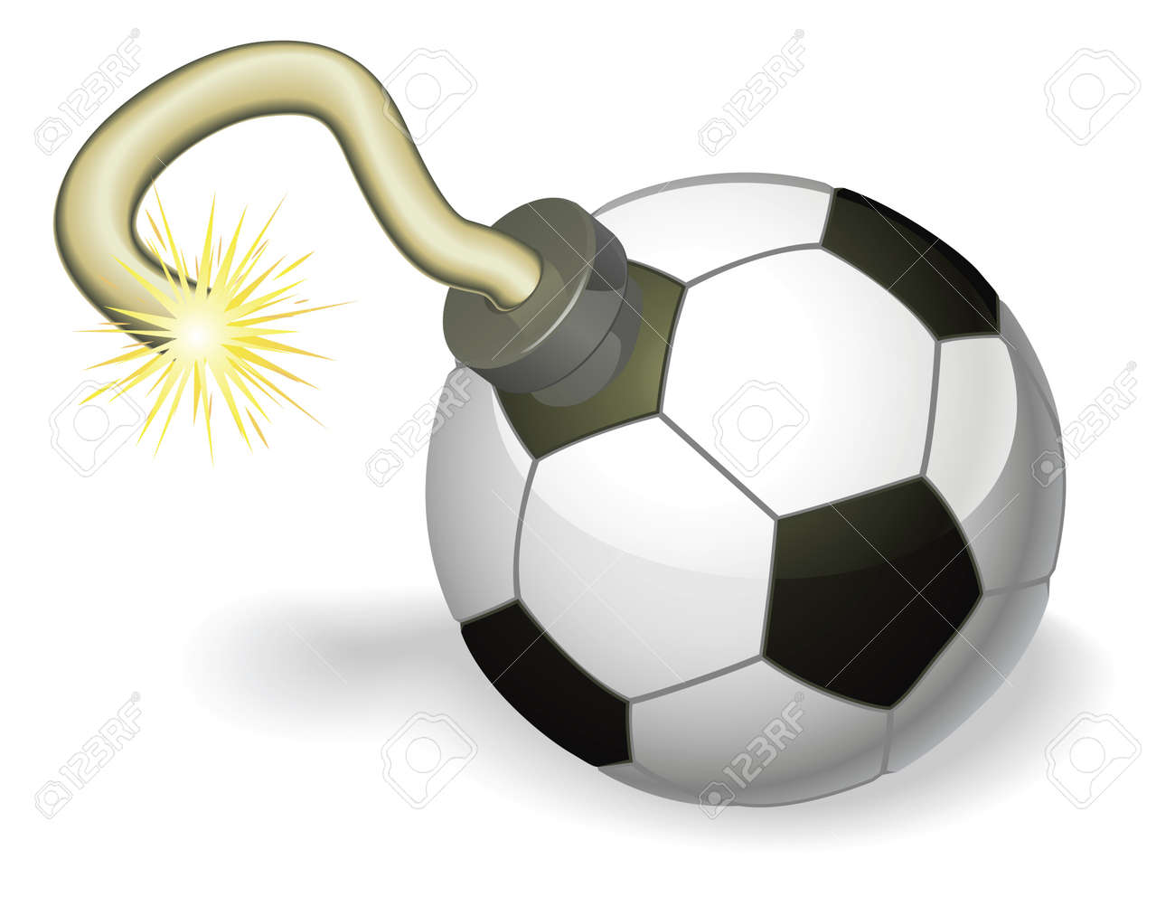 Retro cartoon soccer ball cherry bomb with lit fuse burning down. Concept for countdown to big football event or crisis. Stock Vector - 9851535