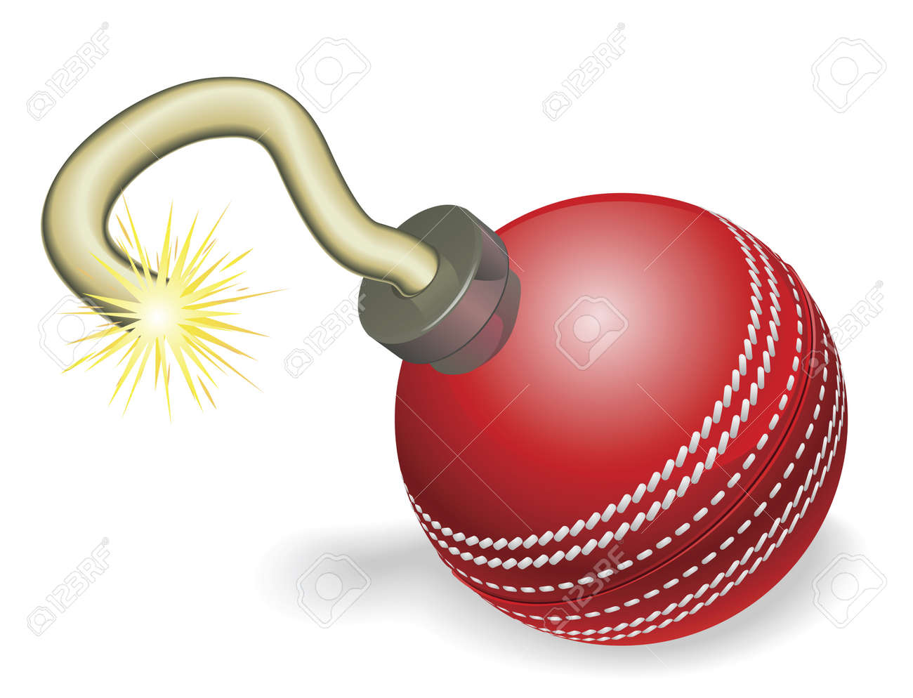 Retro cartoon cricket ball cherry bomb with lit fuse burning down. Concept for countdown to big cricketing event or crisis. Stock Vector - 9851541