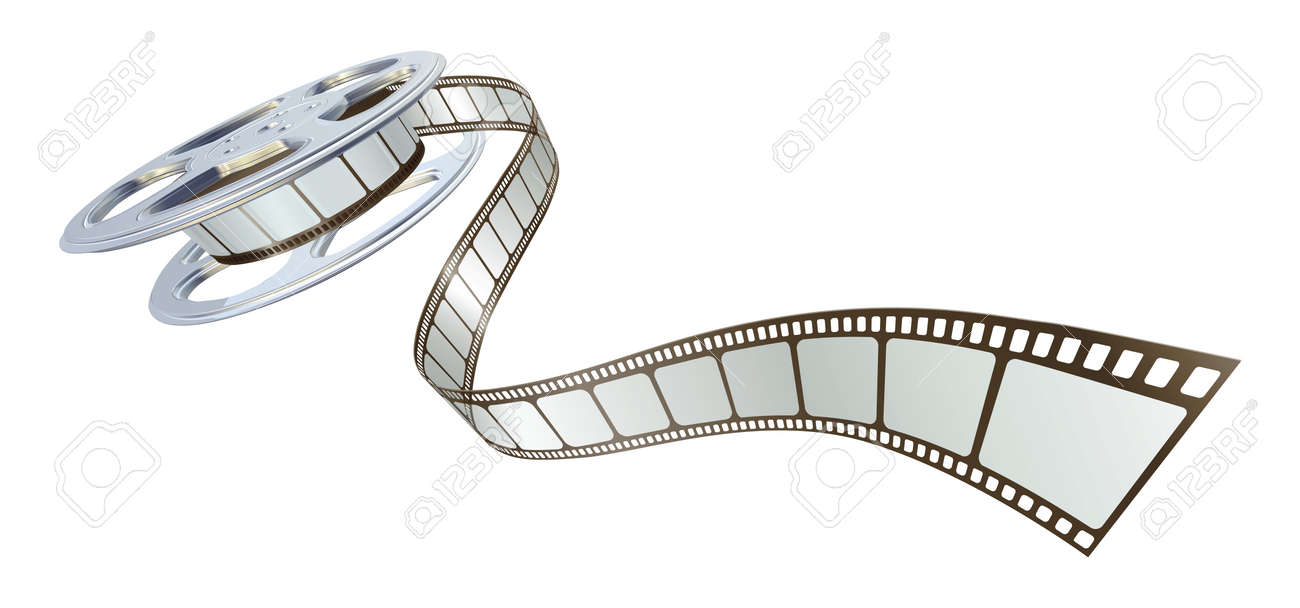 Movie film spooling out of film reel. Symbol for cinema. Stock Vector - 9851557