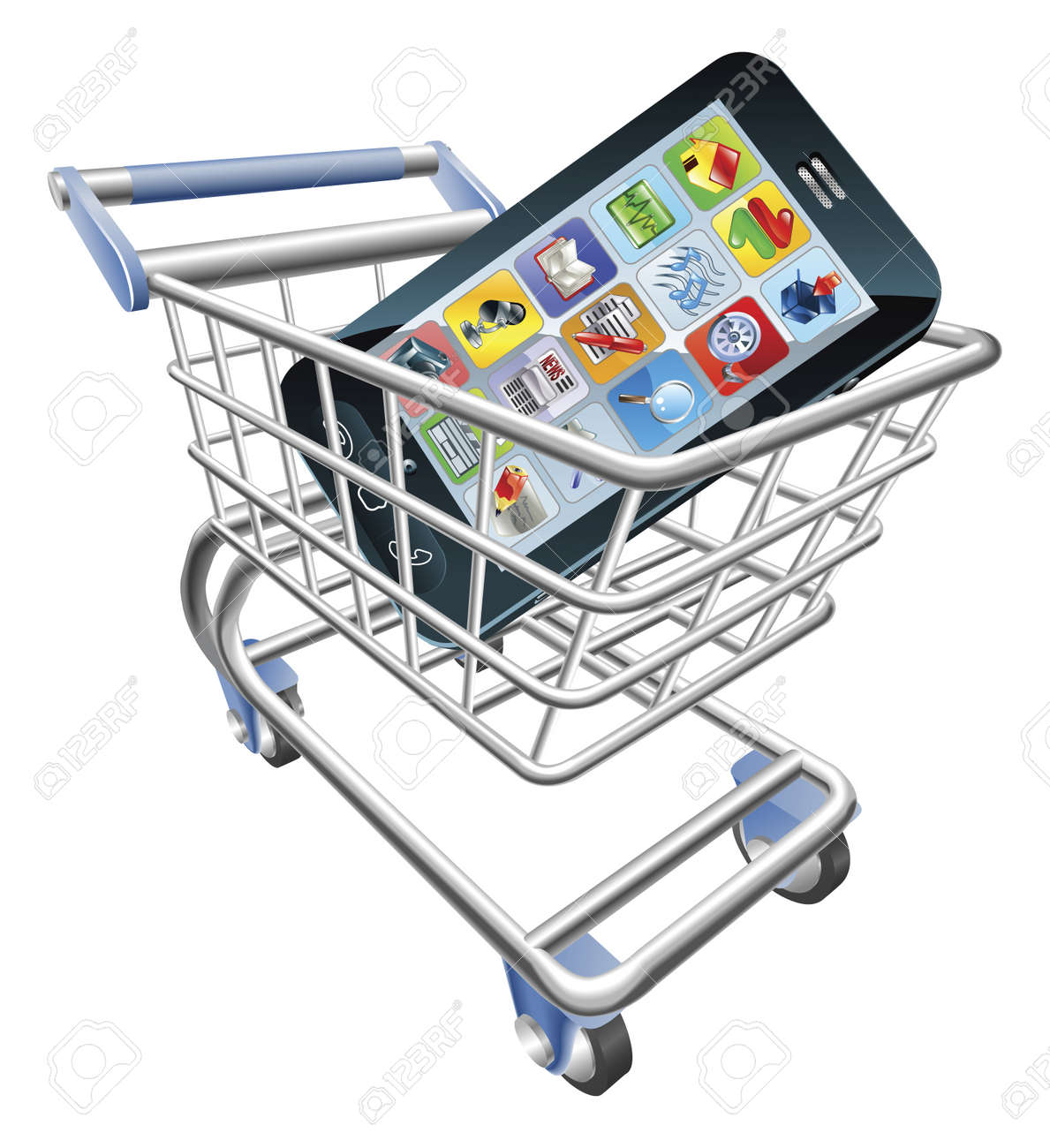 An illustration of a shopping cart trolley with smart phone mobile phone - 9851569