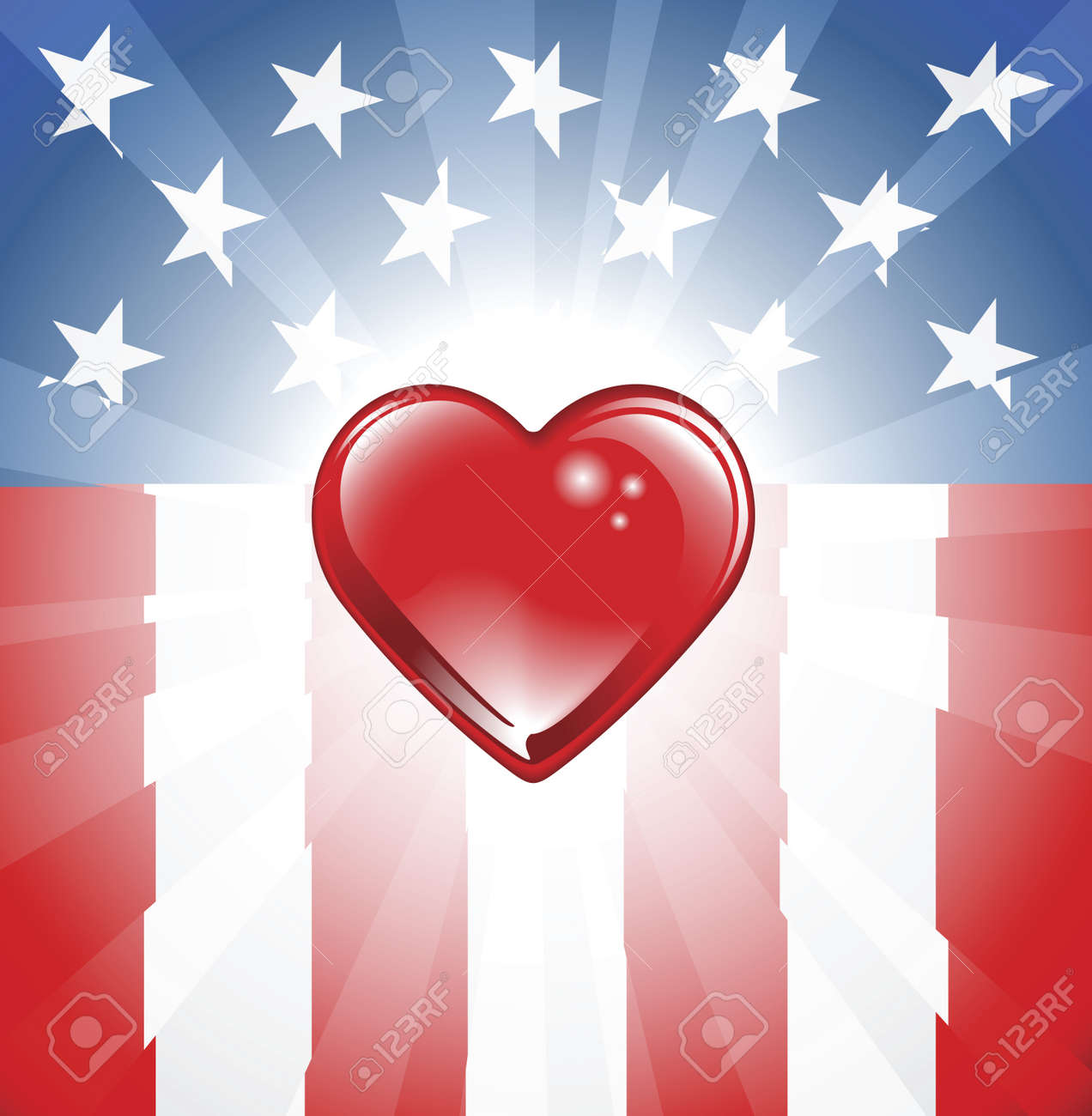A background featuring Heart shape and stars and stripes background Stock Vector - 9931682