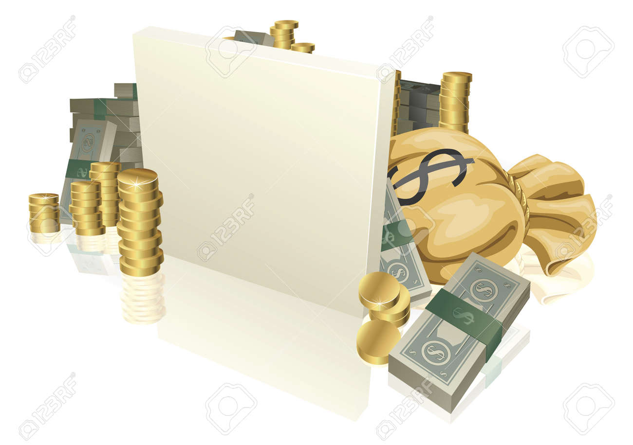 Sign in the middle of lots of cash and gold coins with copyspace Stock Vector - 10013943