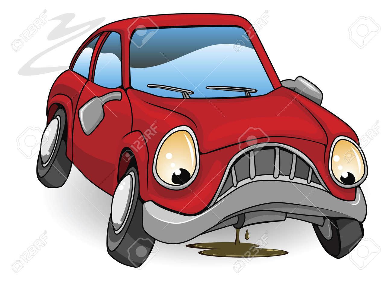 An illustration of a sad broken down red cartoon car Stock Vector - 10099698
