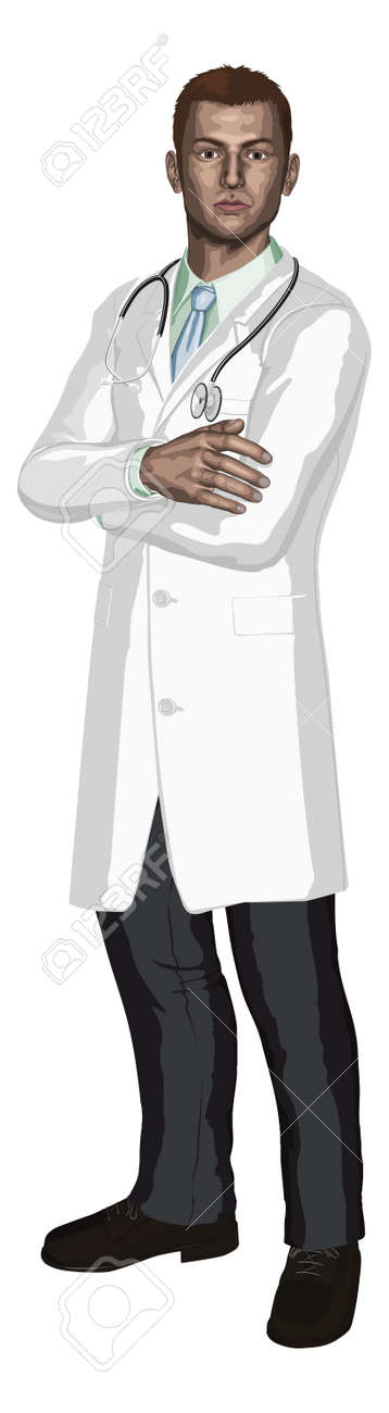 Illustration of a young doctor with stethoscope in a white coat Stock Vector - 10099700