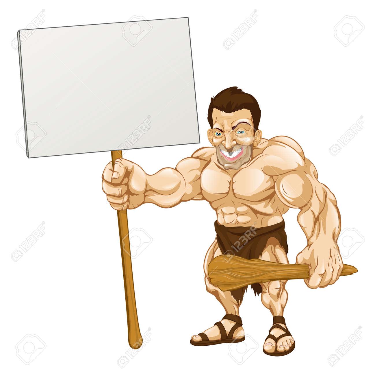 A cartoon illustration of a muscular caveman holding a sign Stock Vector - 10099702