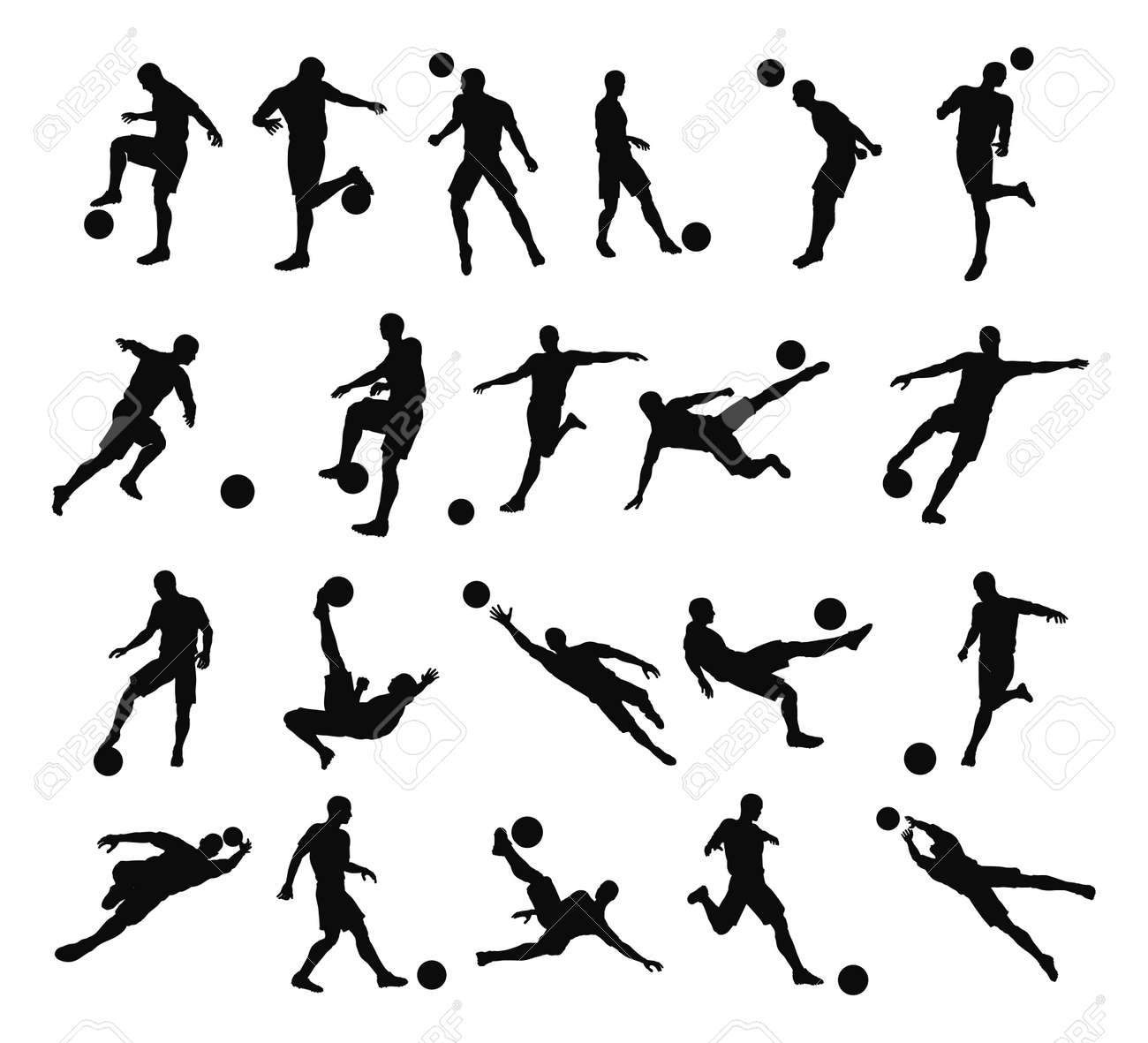Very high quality detailed soccer football player silhouette outlines. Stock Vector - 10180905