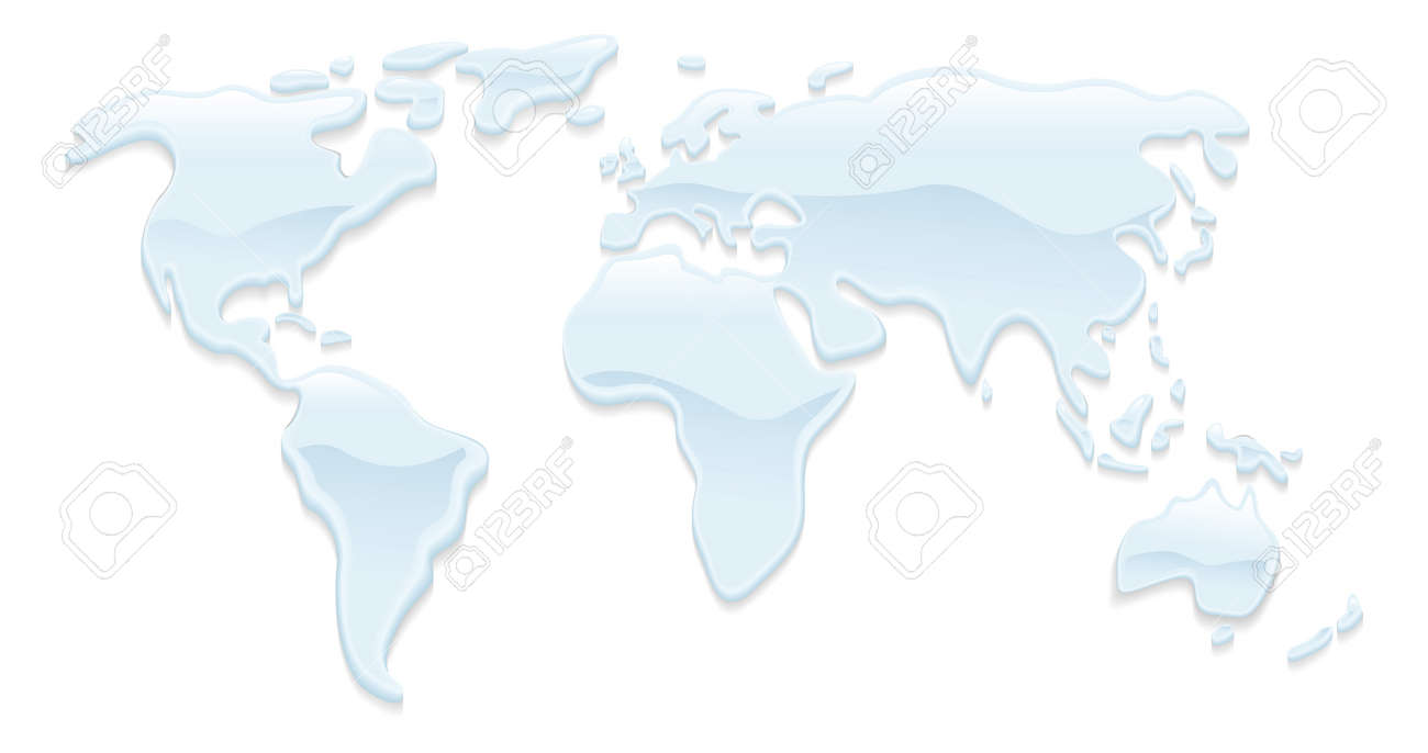 A world map with water droplets forming the continents Stock Vector - 10253804