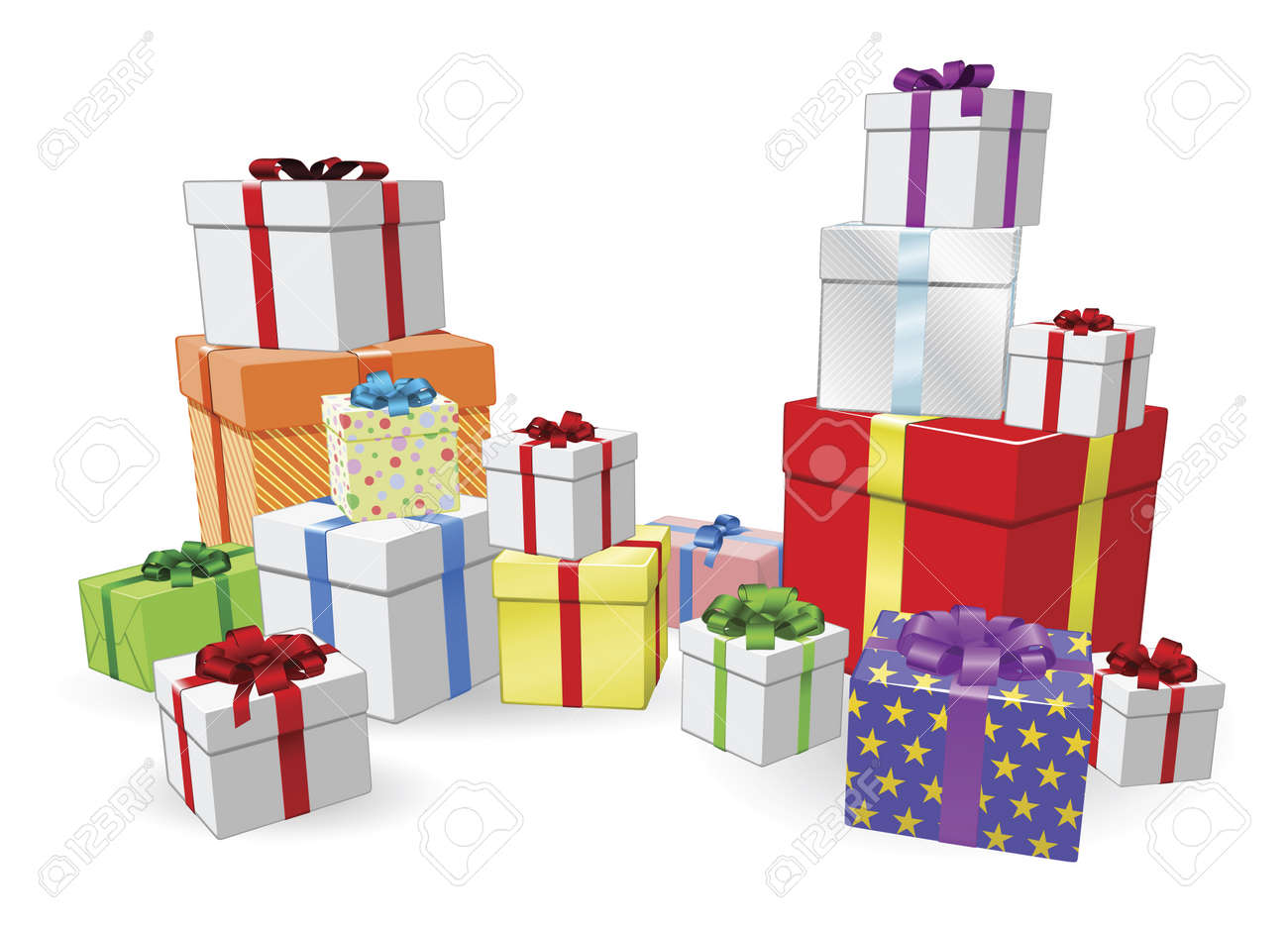 Lots of colorful wrapped presents for Birthday, Christmas or other celebration - 10278290