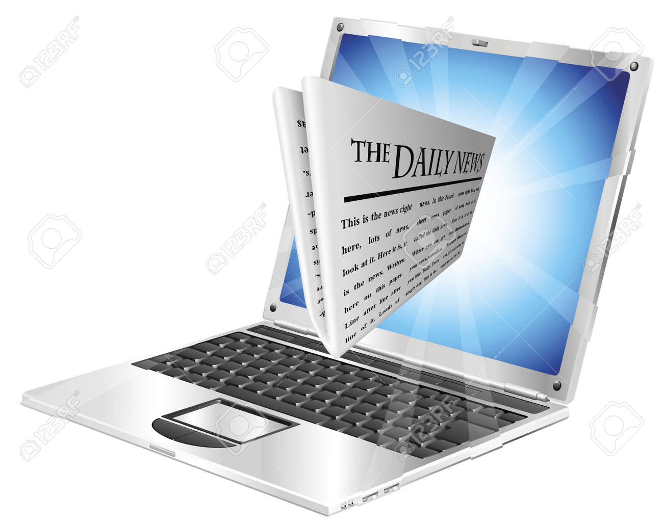 Newspaper coming out of laptop screen concept Stock Vector - 10318155