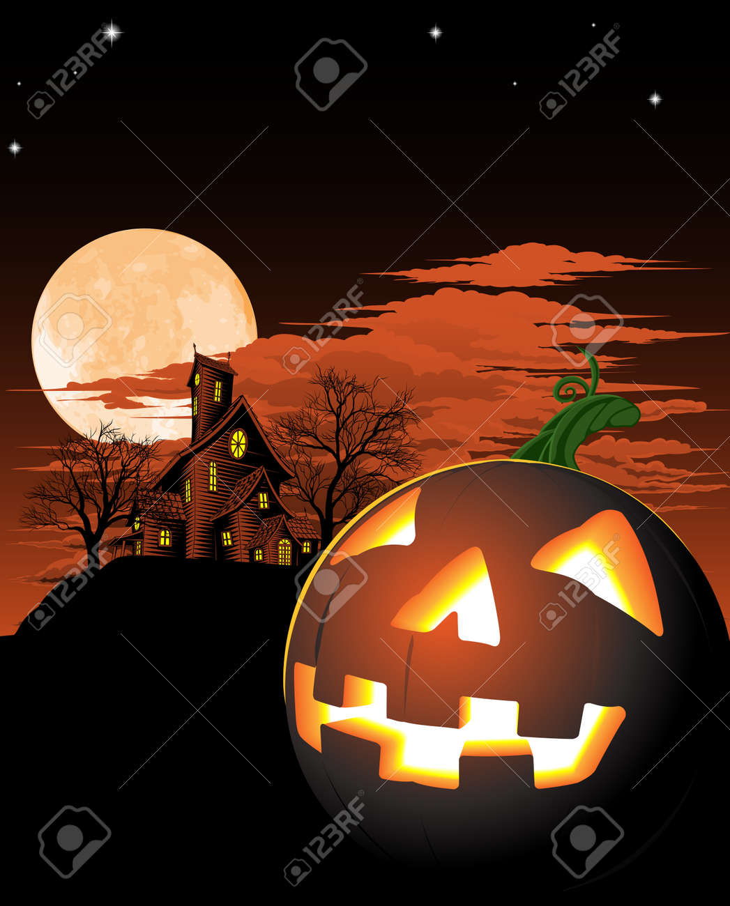 A haunted house and pumpkin Halloween background Stock Vector - 10318154