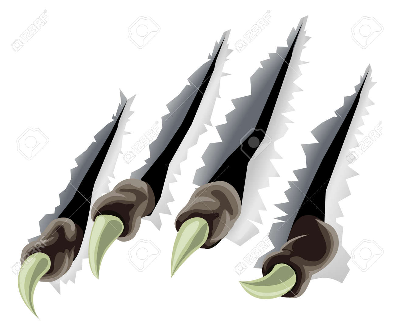 A scary creature's claws tearing through background making slashes or tears Stock Vector - 10358593