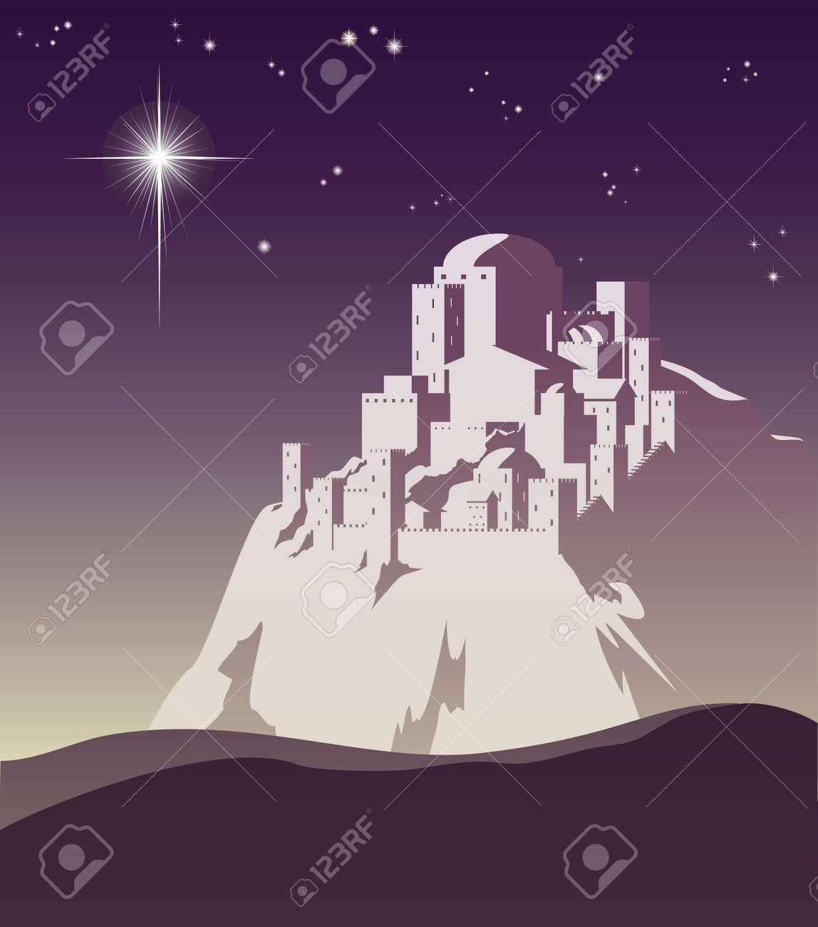 Illustration of Christmas star over Bethlehem announcing the birth of Jesus Stock Vector - 10387833