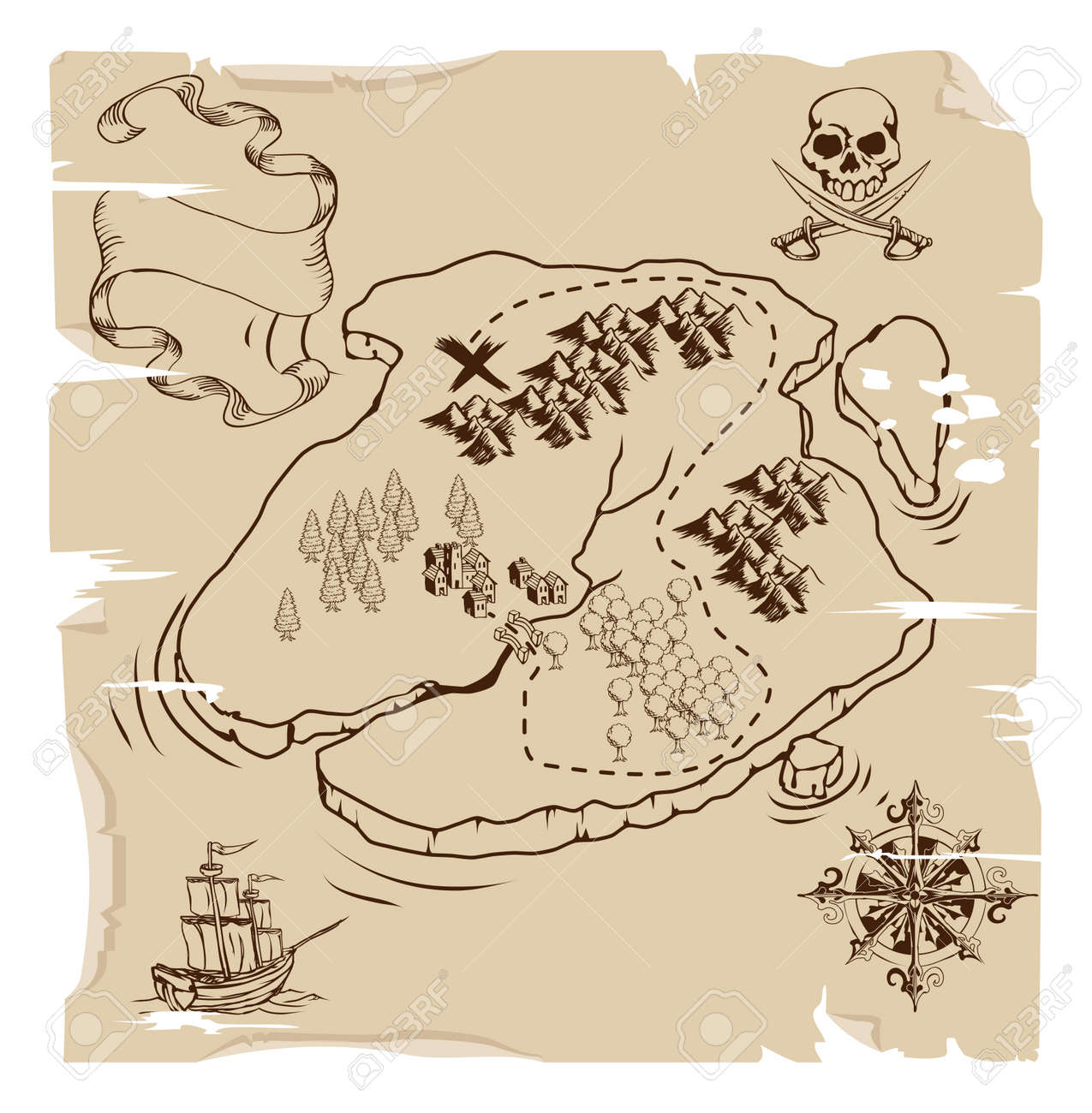Illustration of an old fashioned pirate island treasue map Stock Vector - 10415881