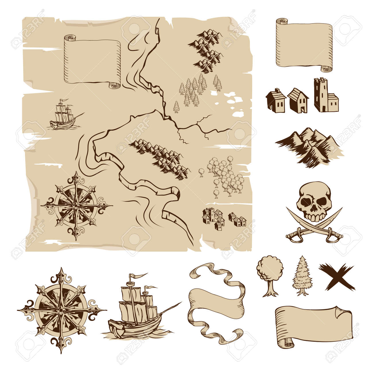 example map and design elements to make your own fantasy or treasure