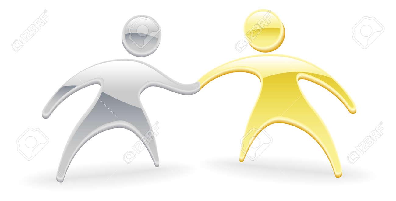 Metallic cartoon mascot character handshake concept Stock Vector - 10415884
