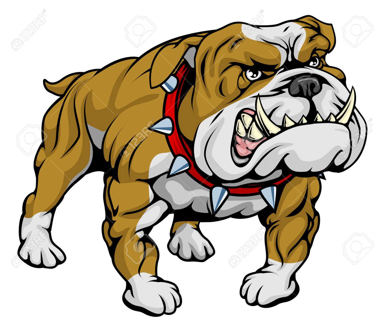 banque dimages un caractre de bulldog allure trs dur dessin anim