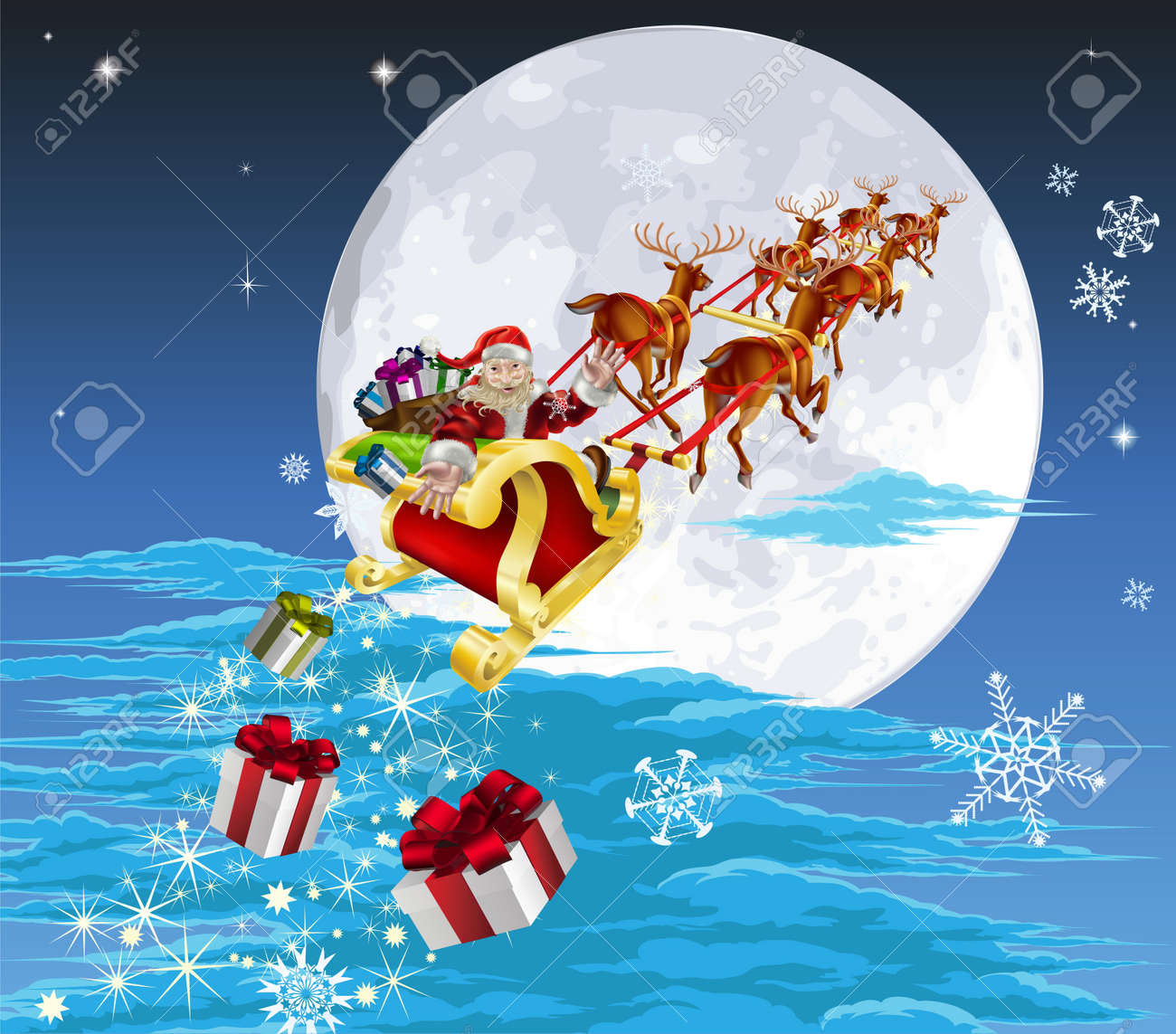 Santa in his Christmas sled or sleigh, delivering his Christmas gifts to everyone Stock Vector - 10502957