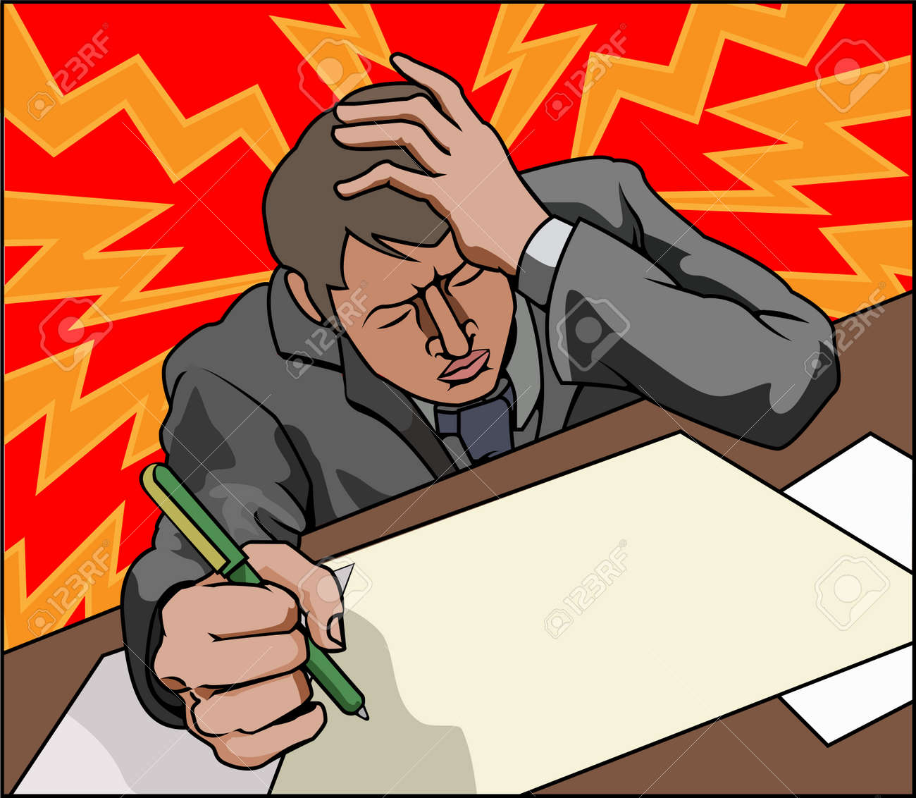 Very stressed looking business man perhaps with headache. Stock Vector - 10522915