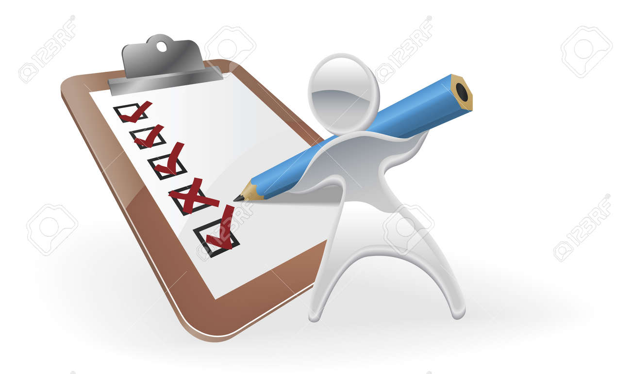 Metallic cartoon mascot character survey feedback concept Stock Vector - 10675245