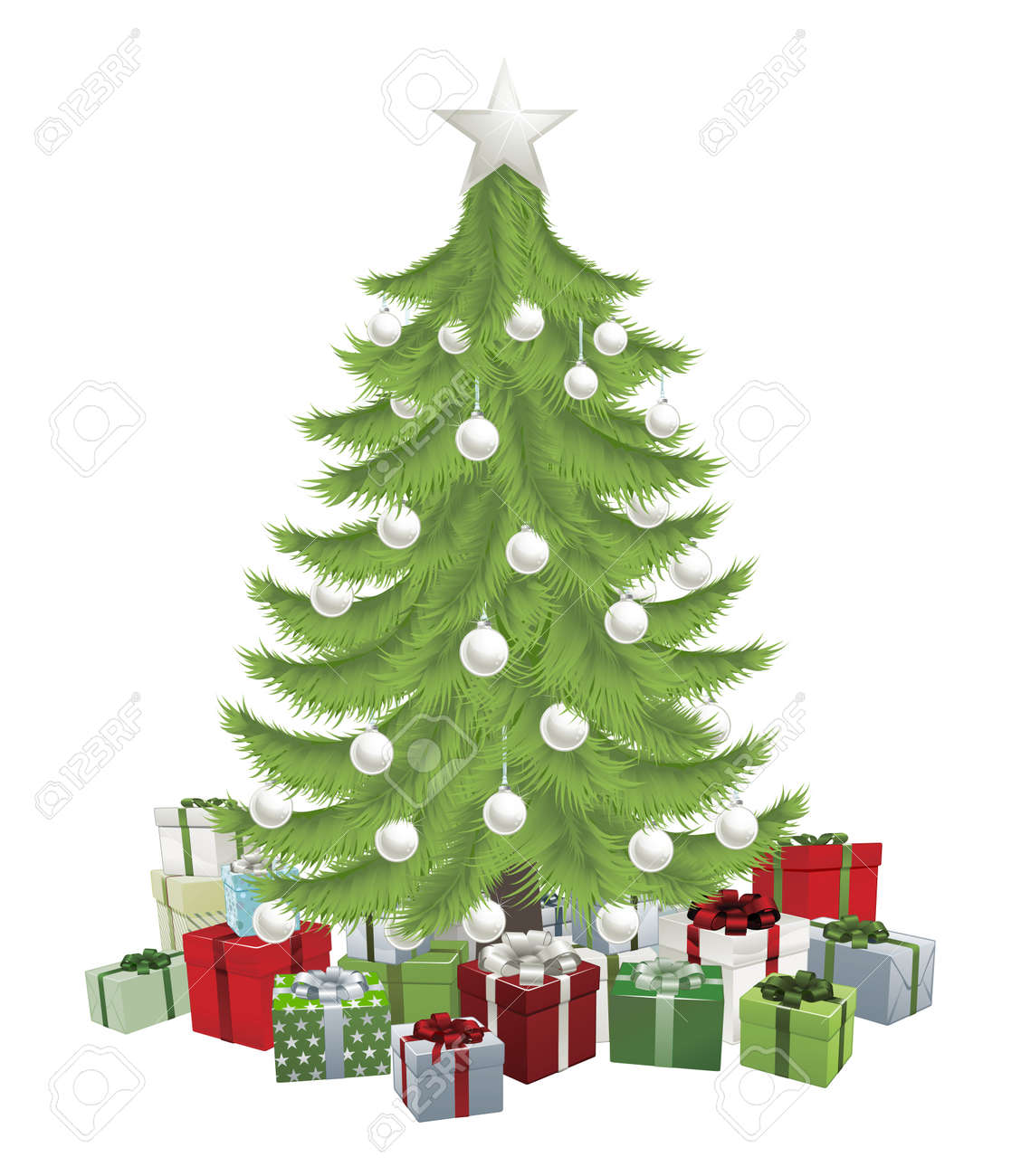 Traditional green Christmas tree with baubles and gifts. Stock Vector - 10737869
