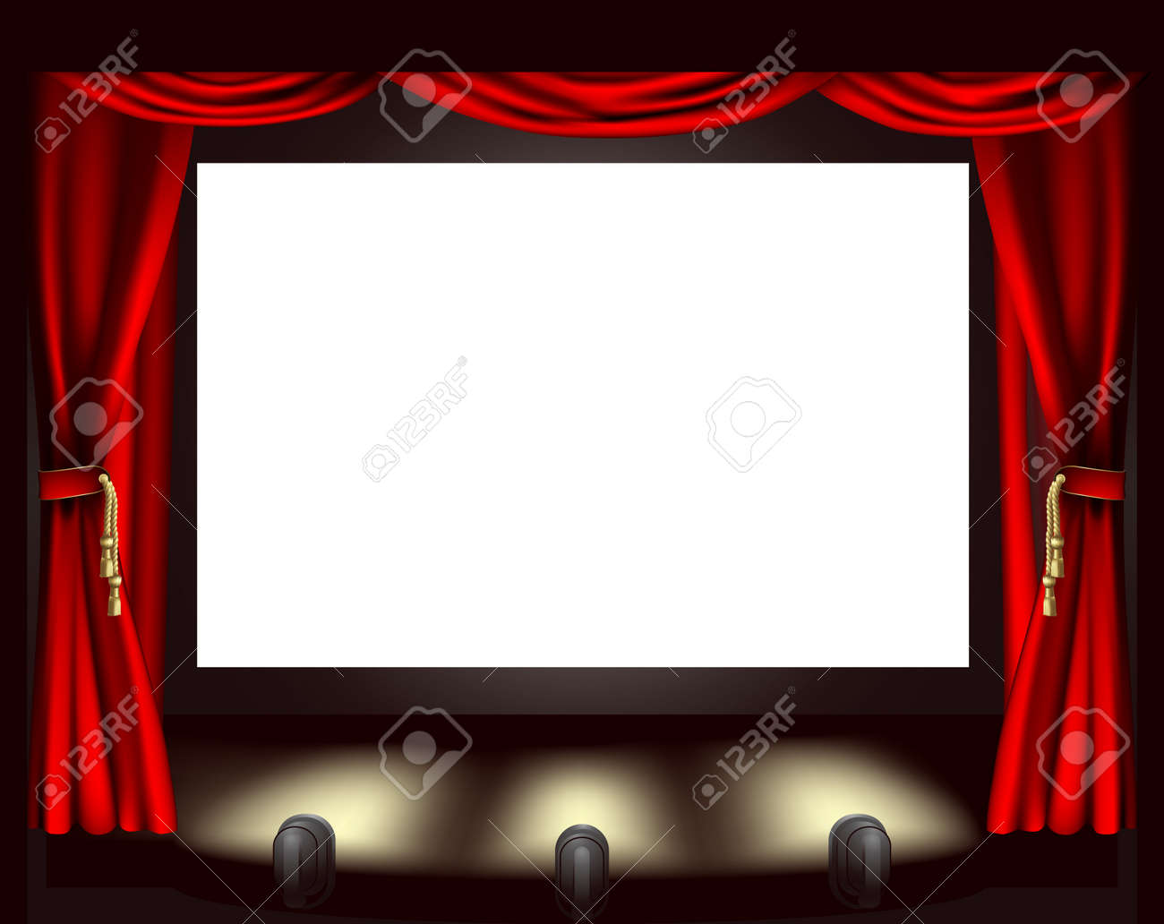 Empty stage curtains with lights - Illustration Of Cinema Screen Lights And Curtain Stock Vector 10737867