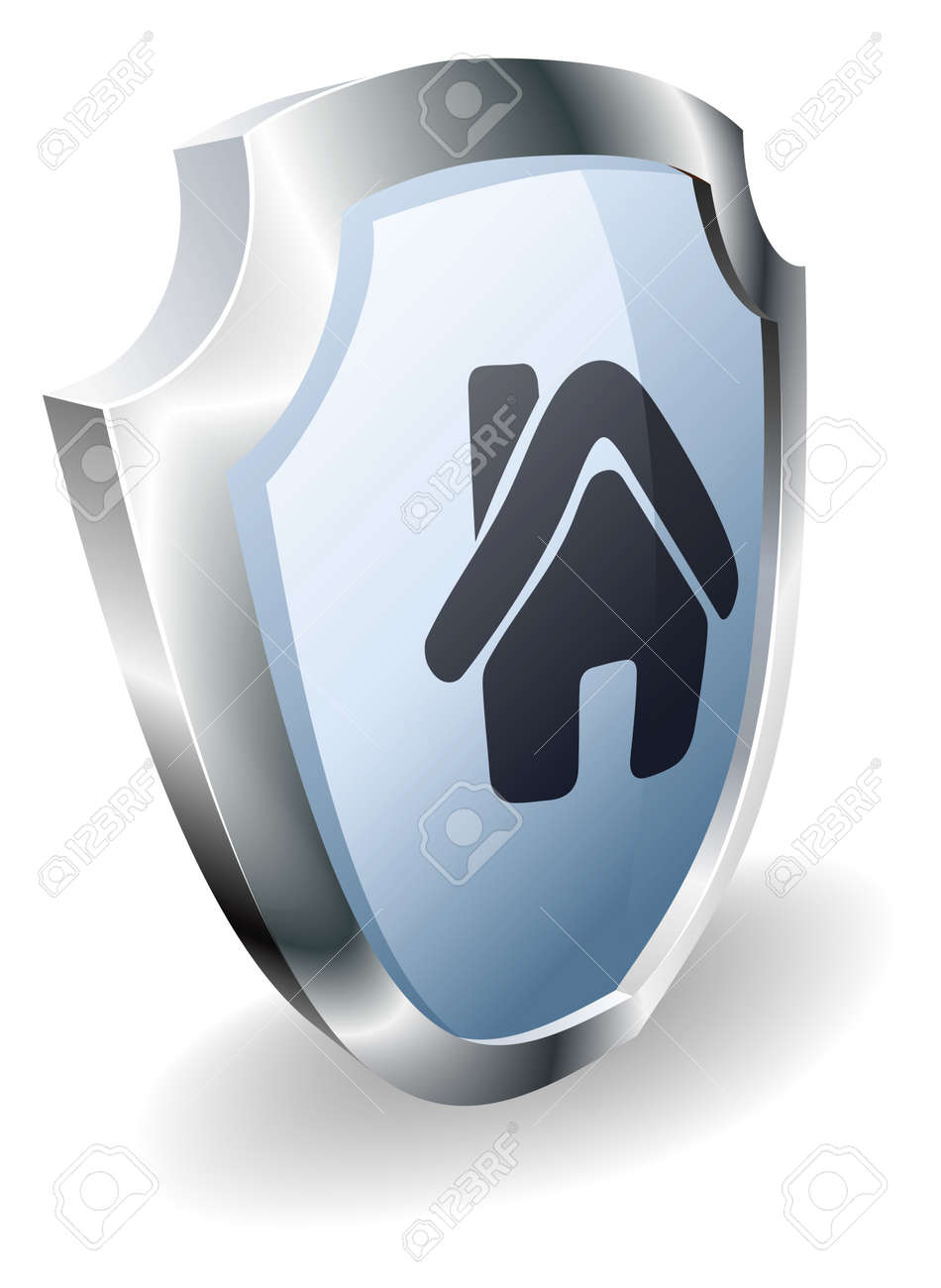 Shield House shield with house icon on indicating it is protected, safe