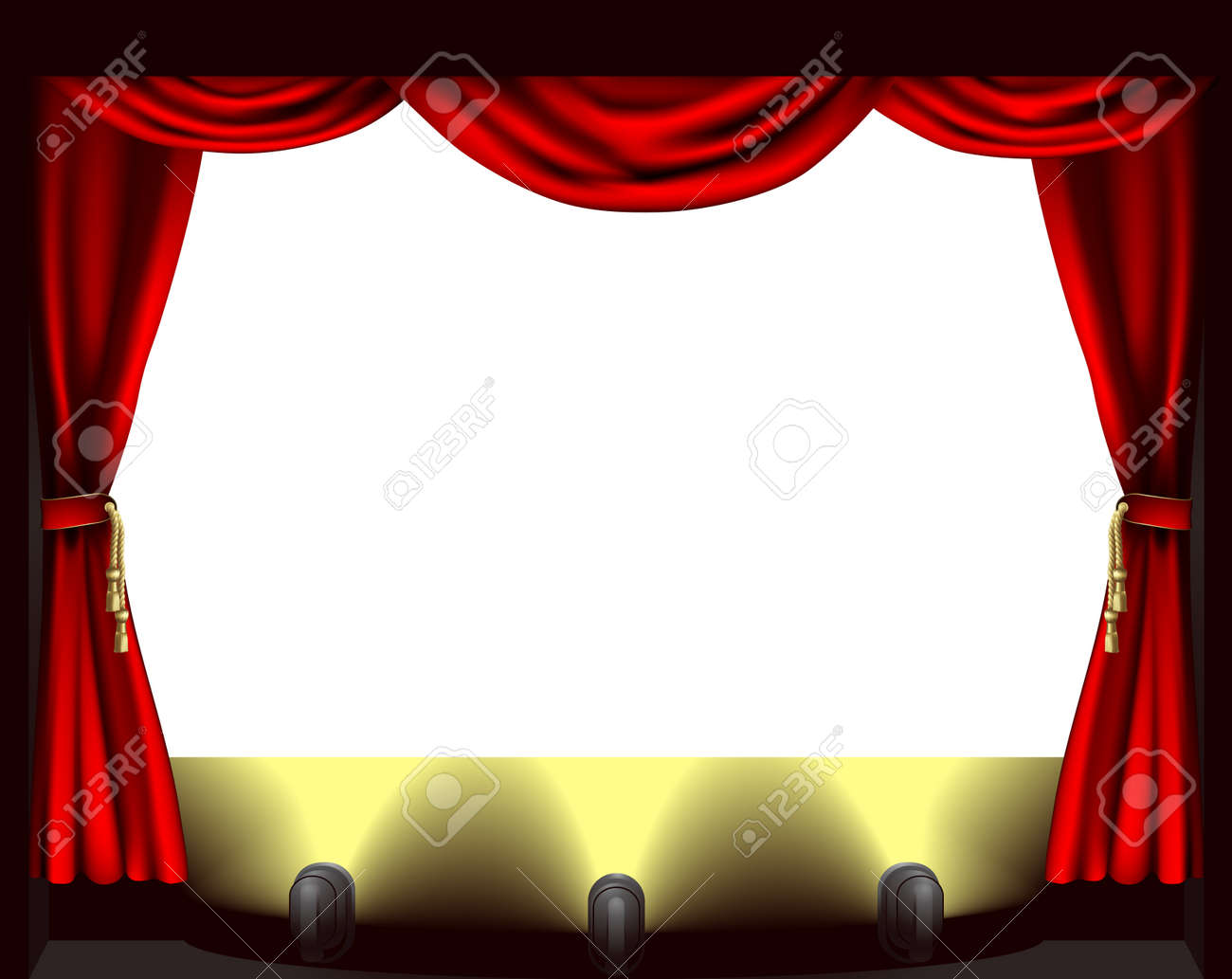 Red stage curtain with lights - A Theatre Stage Lights And Curtain Illustration Stock Vector 10804337