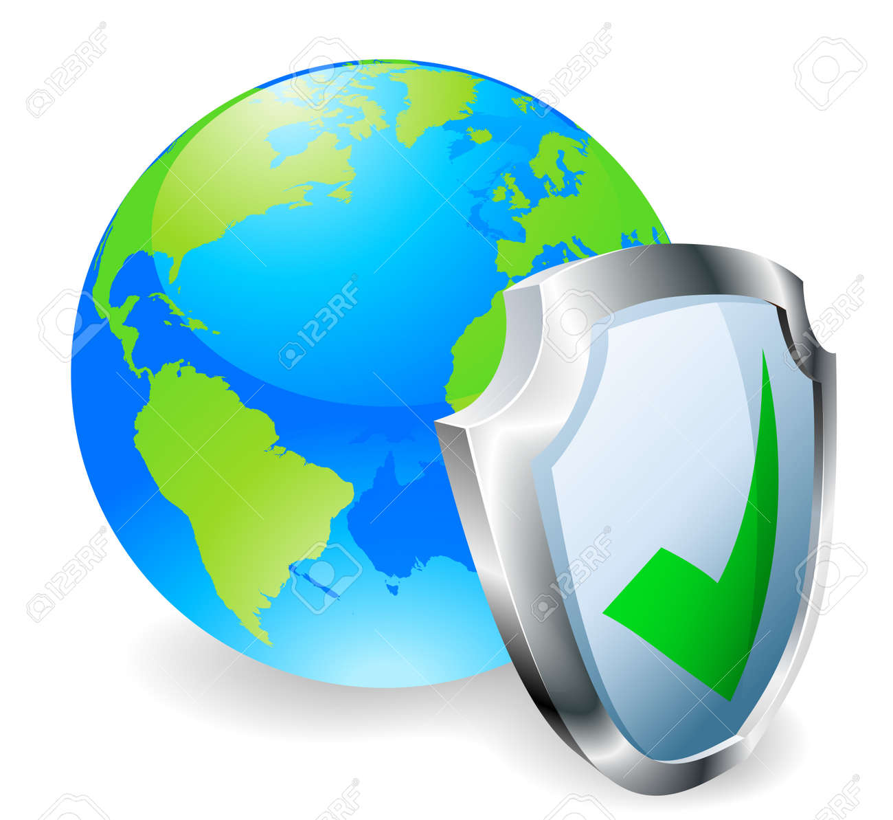 Globe with shield icon with green tick. Concept for internet security or antivirus or firewall etc. Stock Vector - 10804342