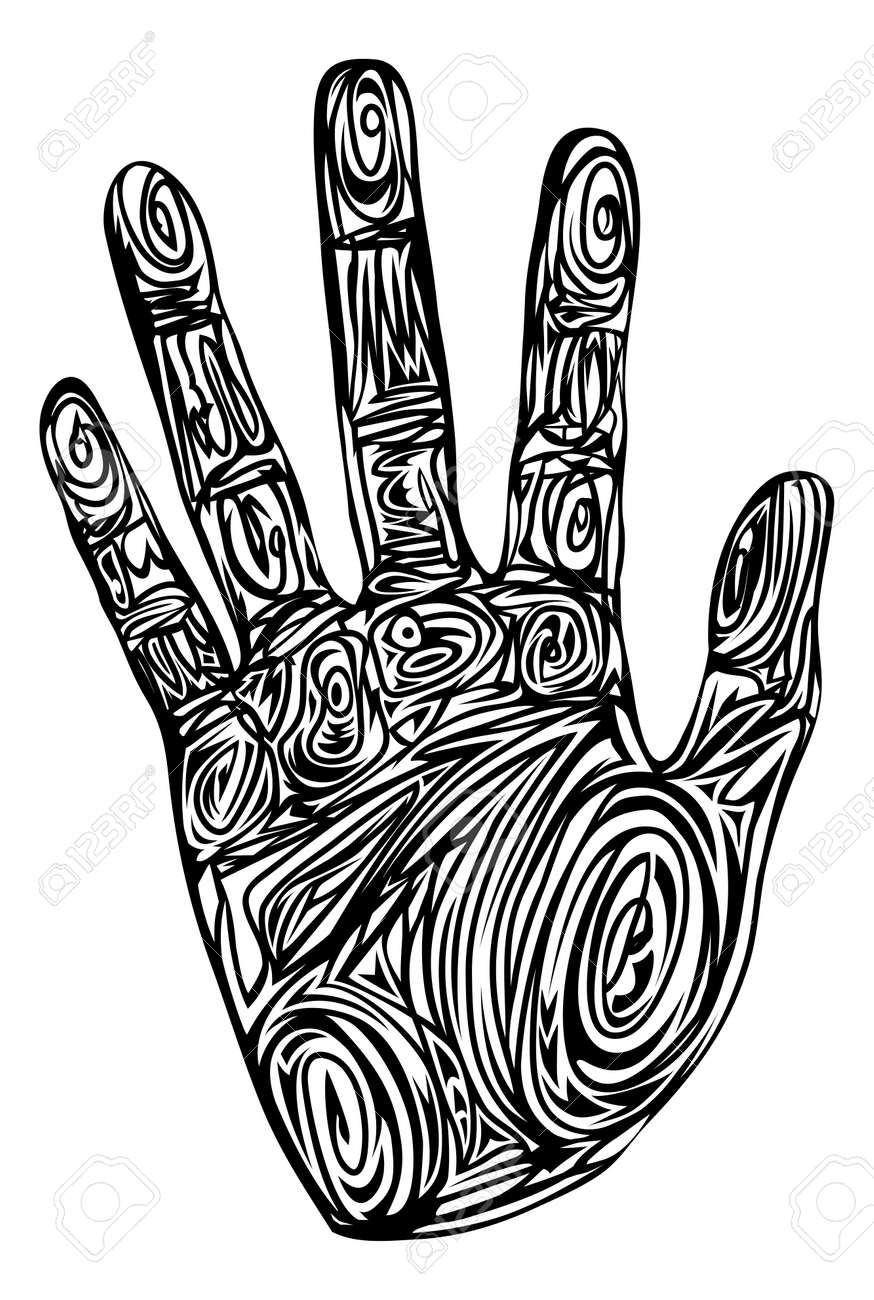 Graphic Of A Hand Print Made Up Of Abstract Patterns Royalty Free ...
