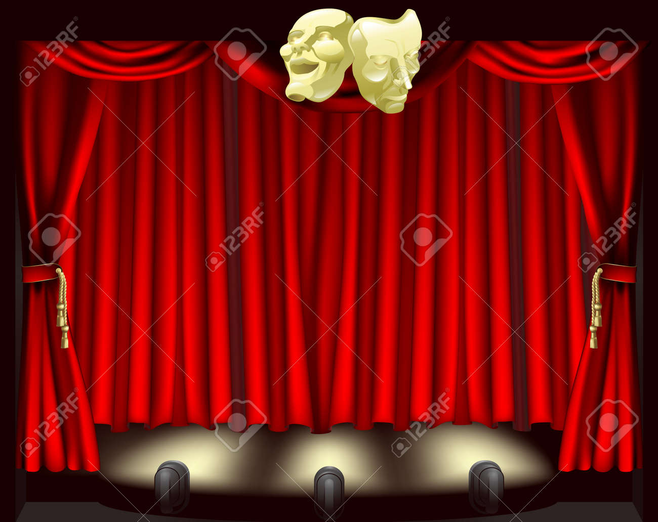 Theatre stage with curtains, footlights, and comedy and tragedy masks Stock Vector - 10908700
