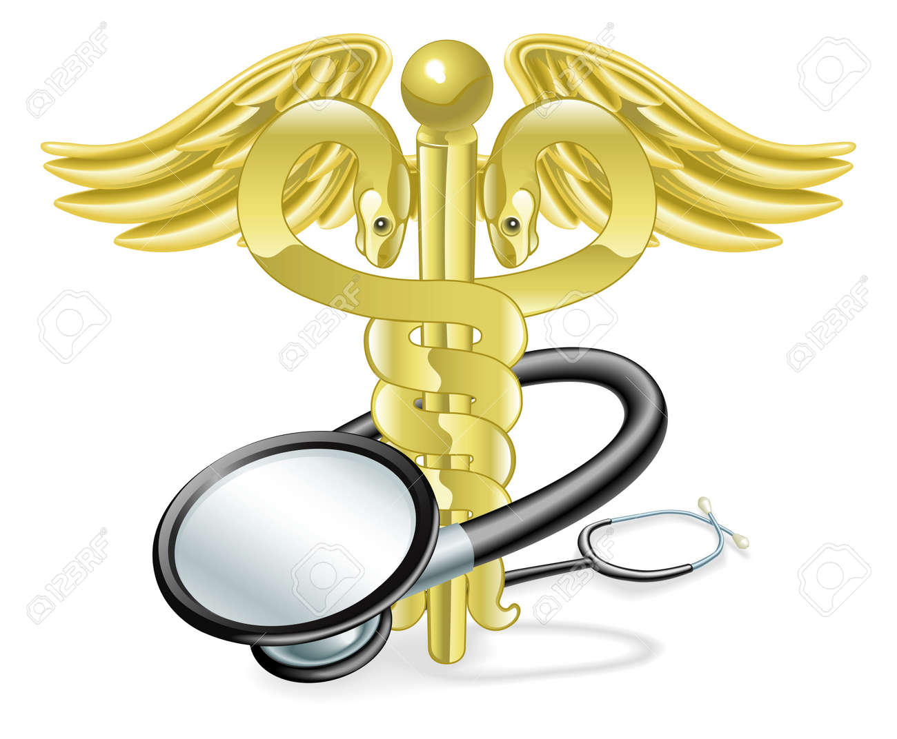 Caduceus With Stethoscope Wrapped Round It Medical Healthcare ...