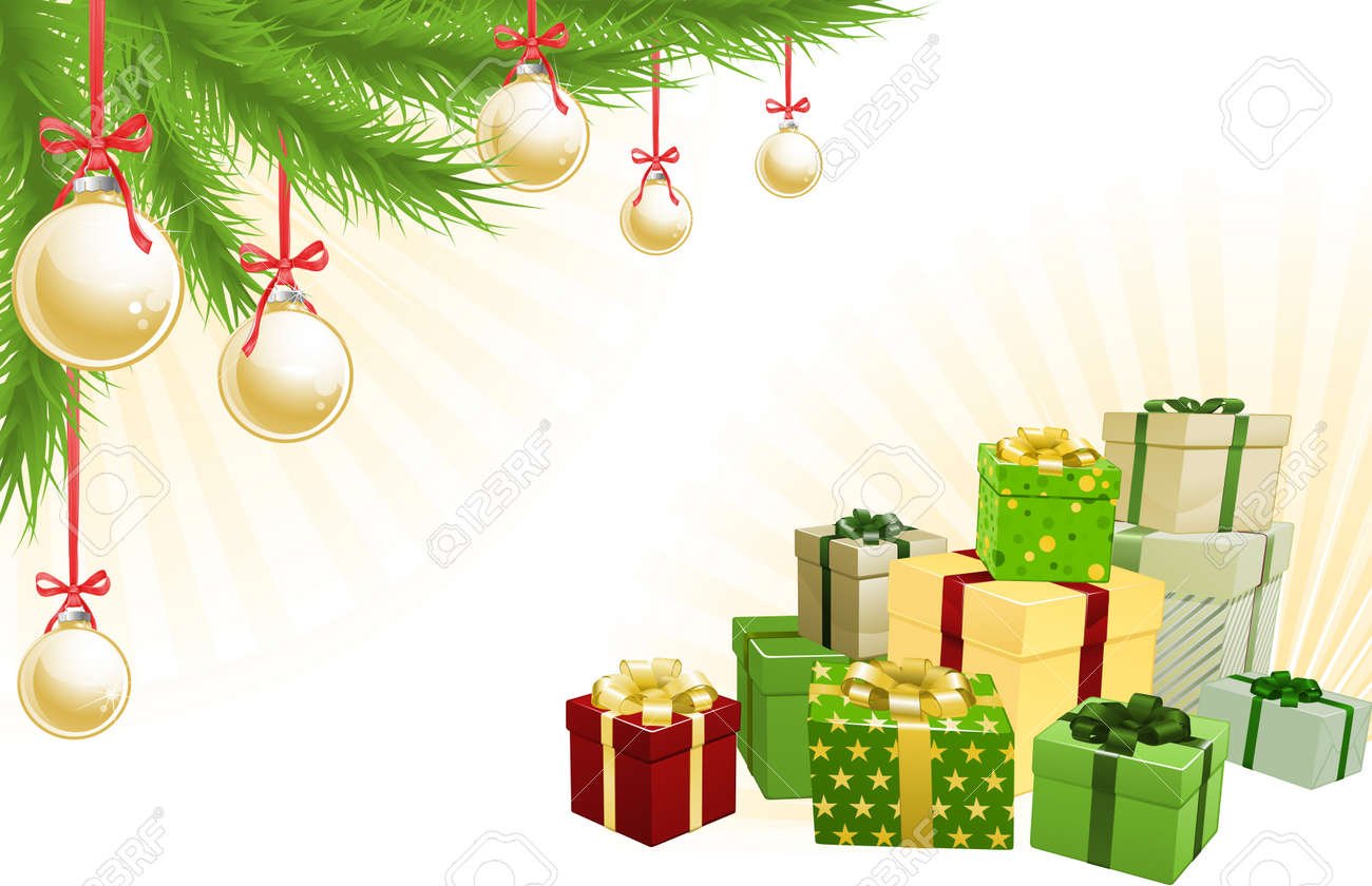 Christmas red, green and gold corner background elements. Christmas tree, balls and gifts. Corners can be moved for more space in centre Stock Vector - 10954759