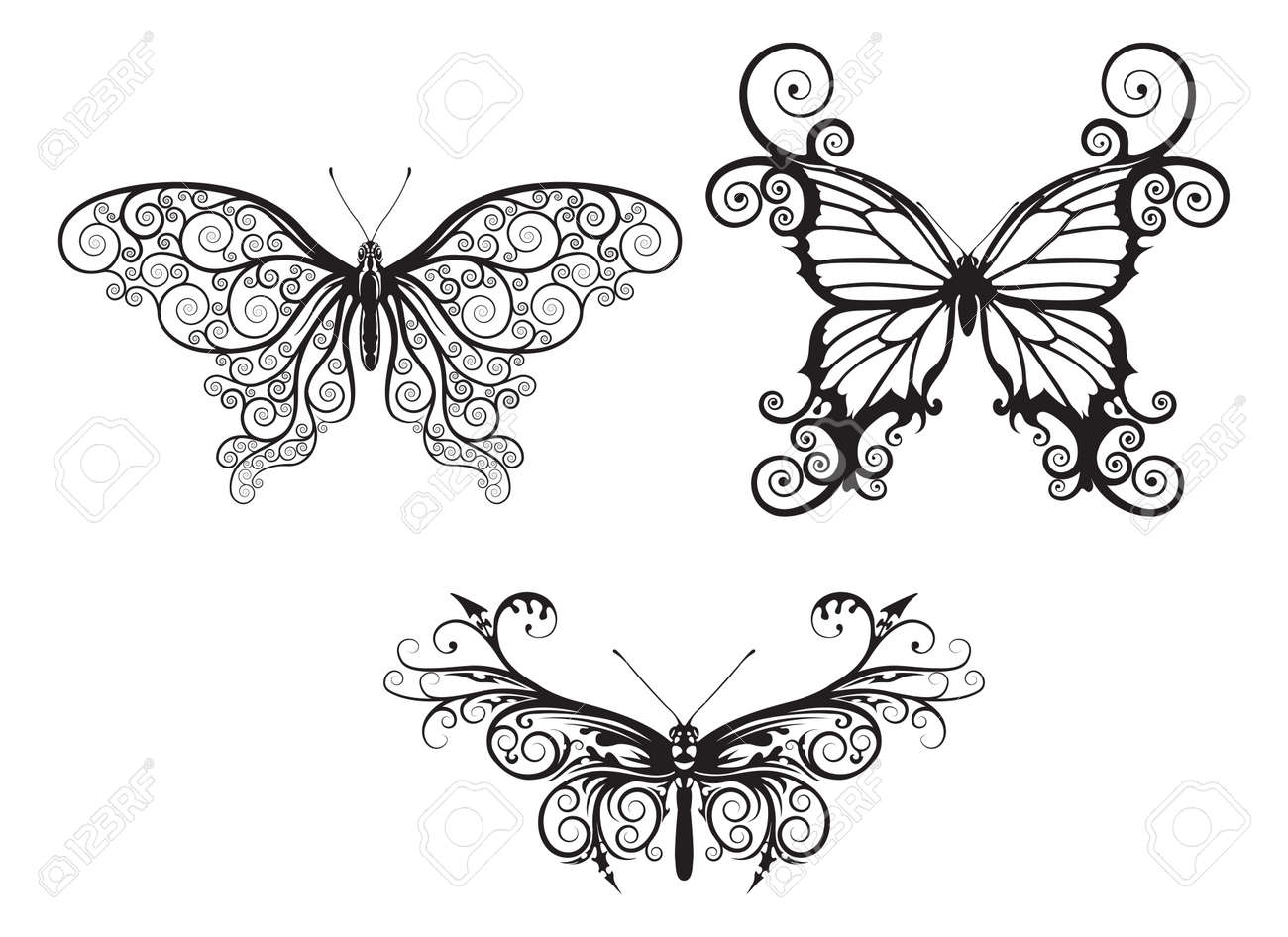 Illustrations of stylised abstract butterflies with patterns and swirls making up wings Stock Vector - 10954768