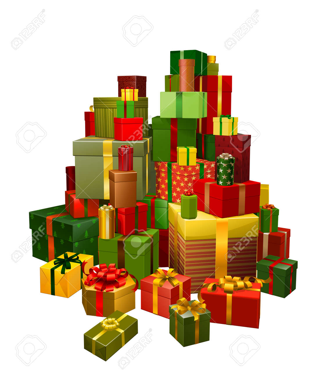 Illustration Of A Large Pile Of Gifts In Green, Red And Gold ...