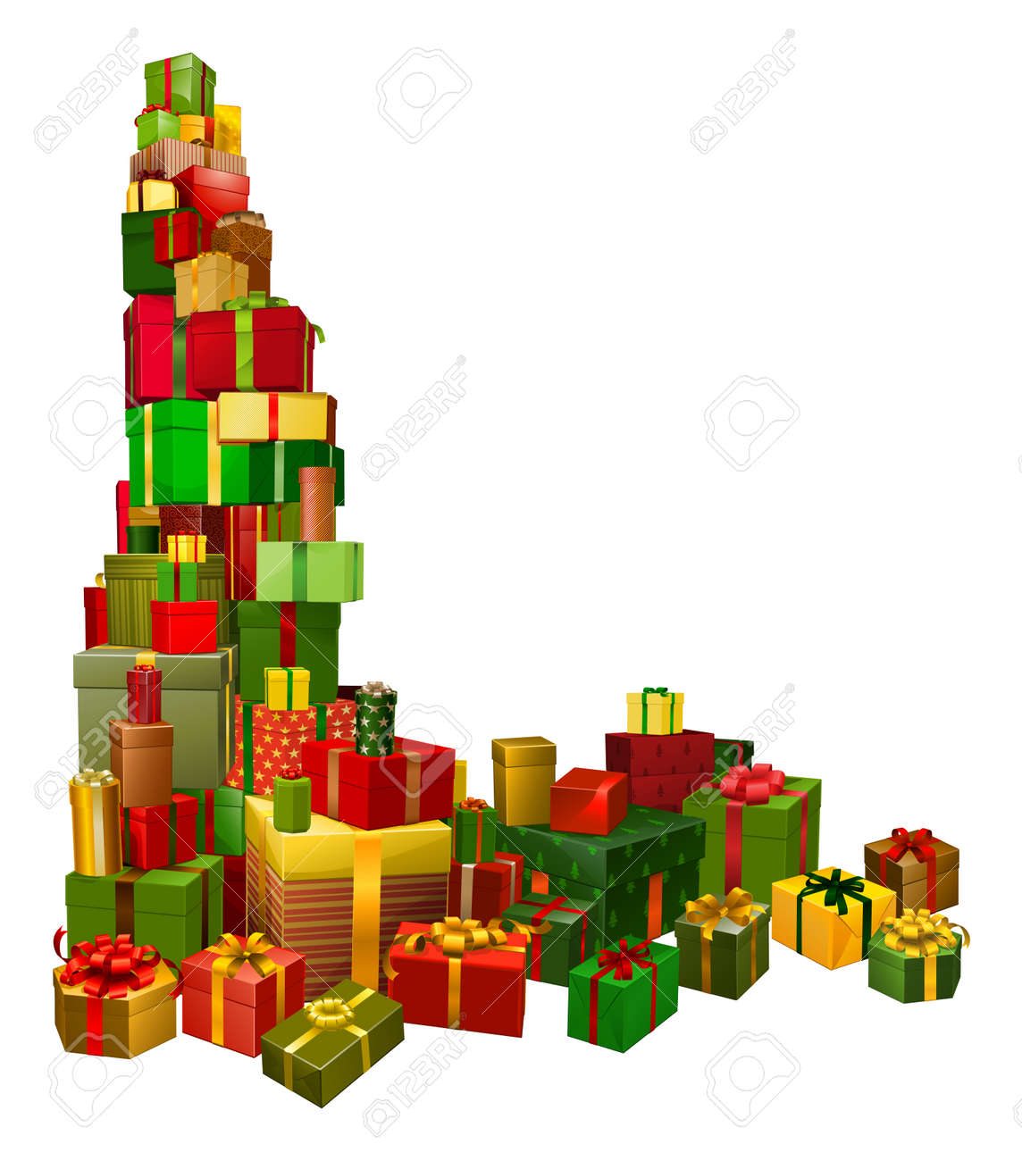 A corner shaped design element of lots of Christmas gifts Stock Vector - 11070688